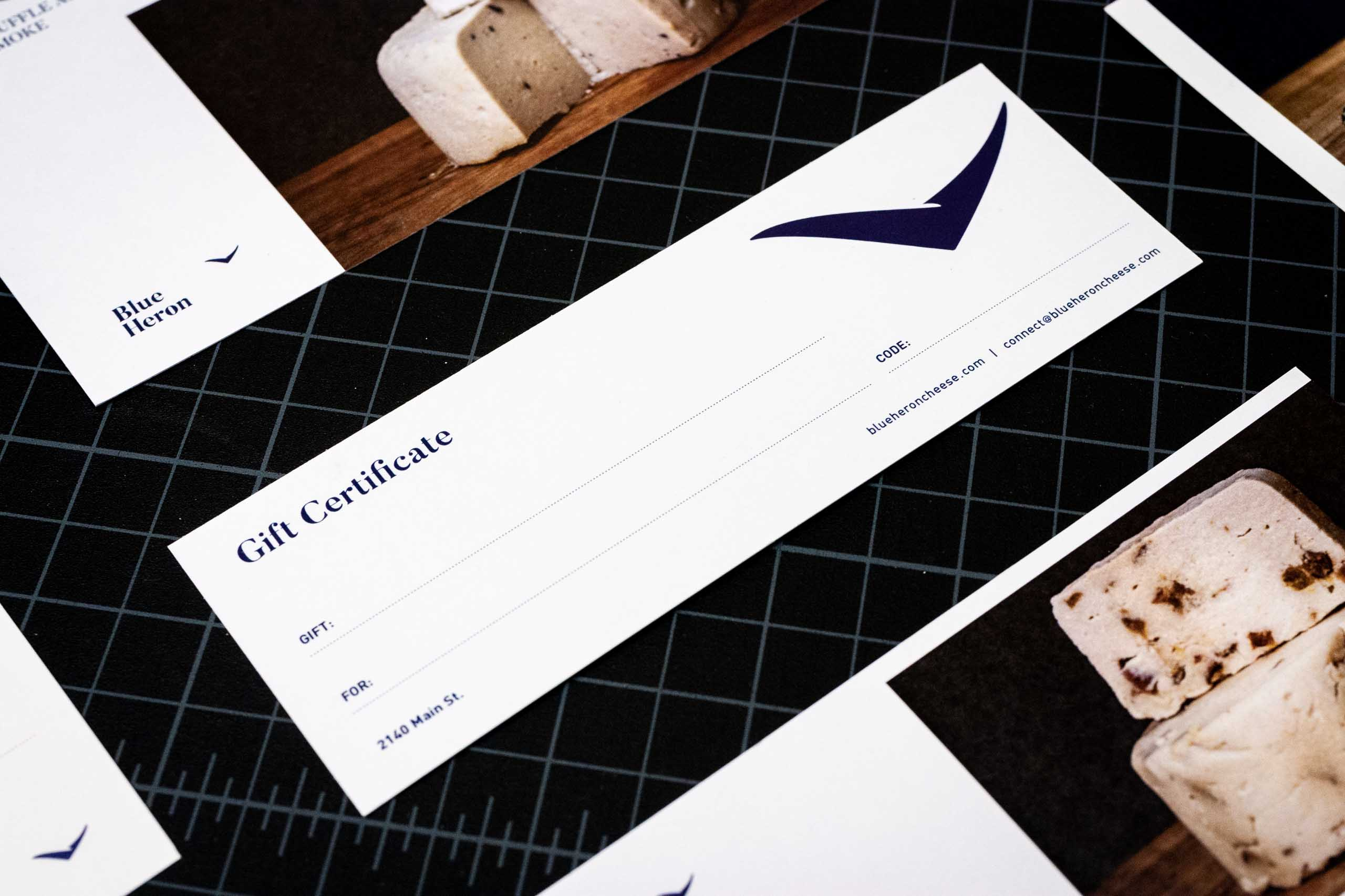 Close up of Blue Heron gift certificate — by Yagnyuk.