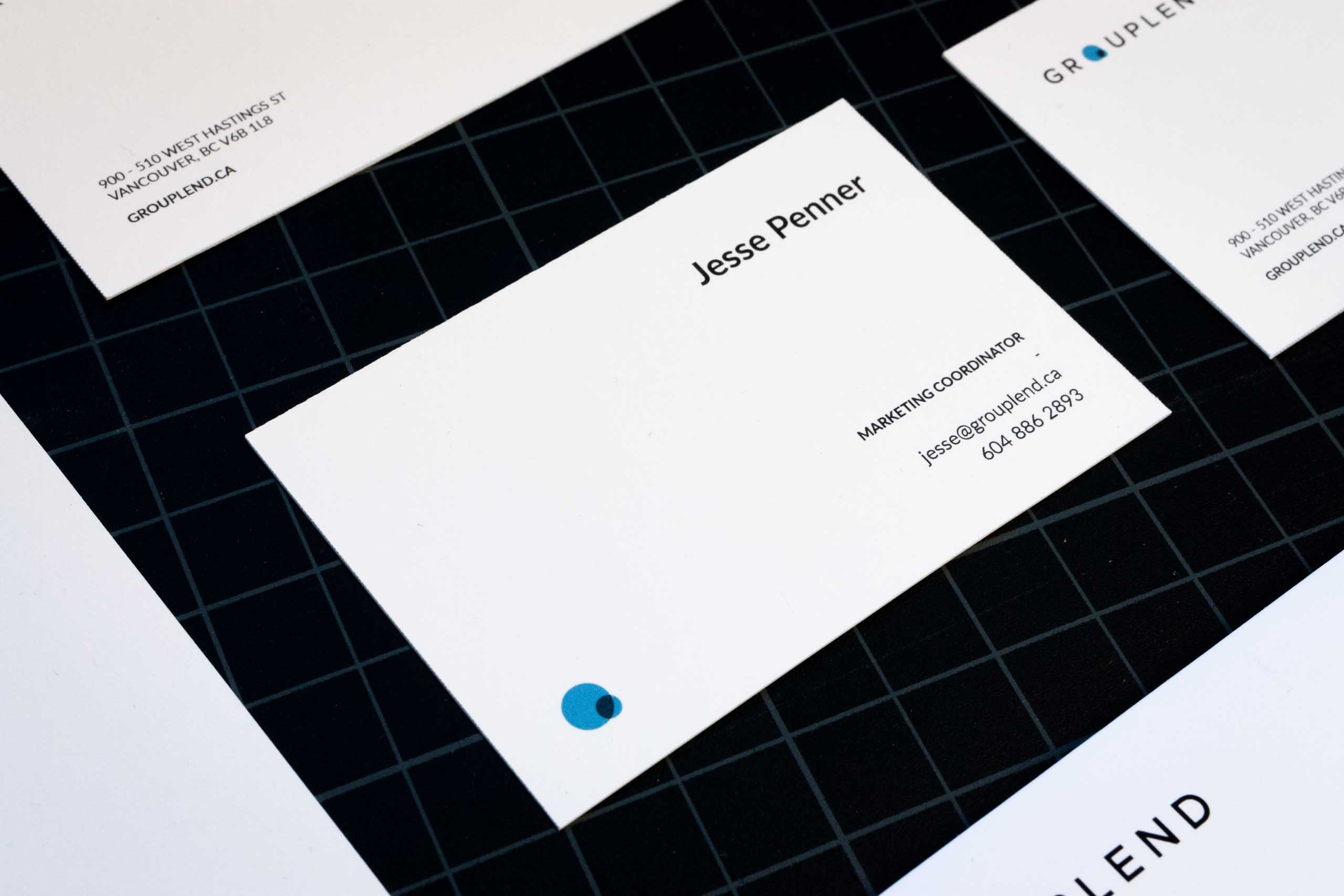 Grouplend business card individual side showing information for Marketing Coordinator — by Yagnyuk.