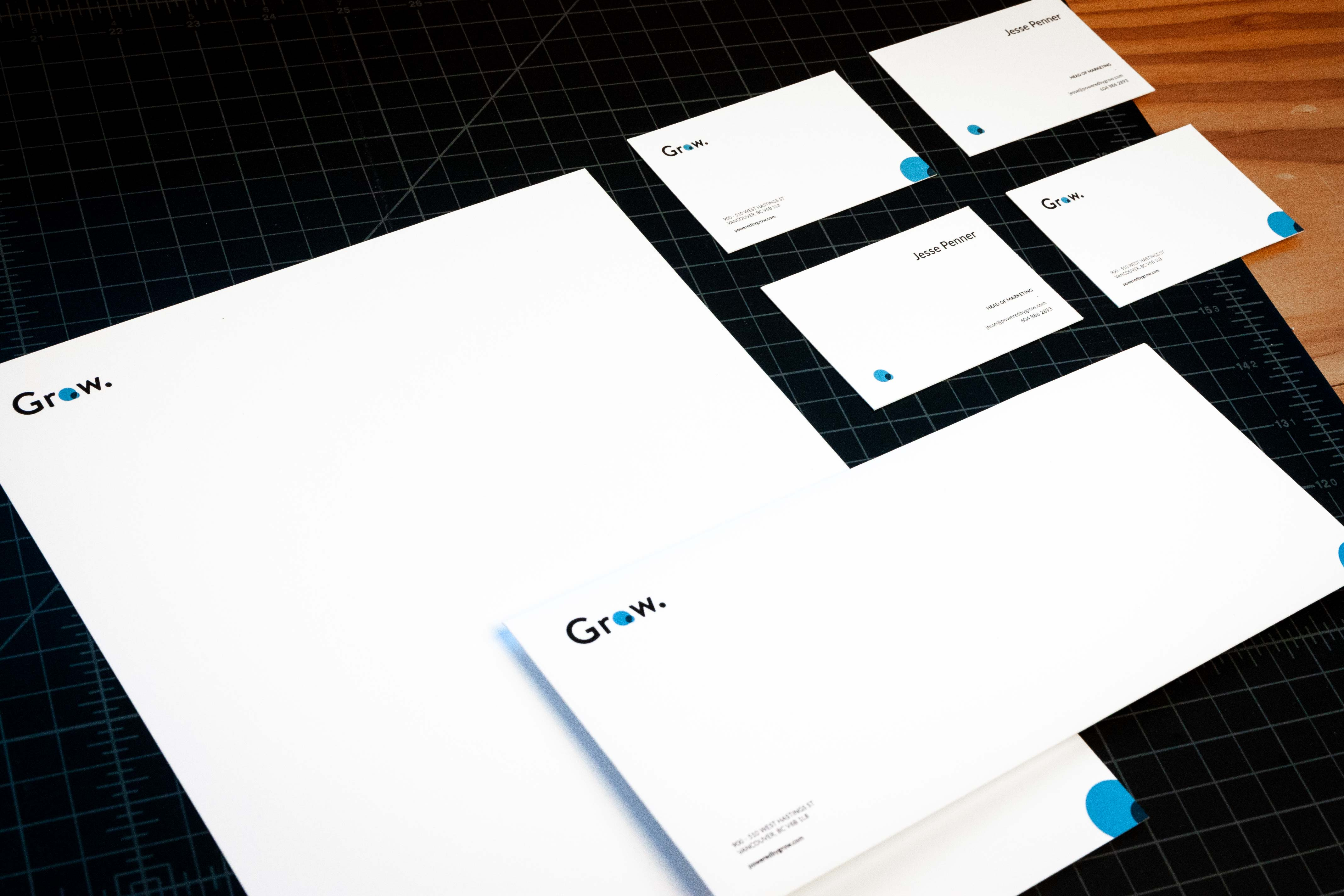Grow Financial letterhead, envelope and set of business cards — by Yagnyuk.
