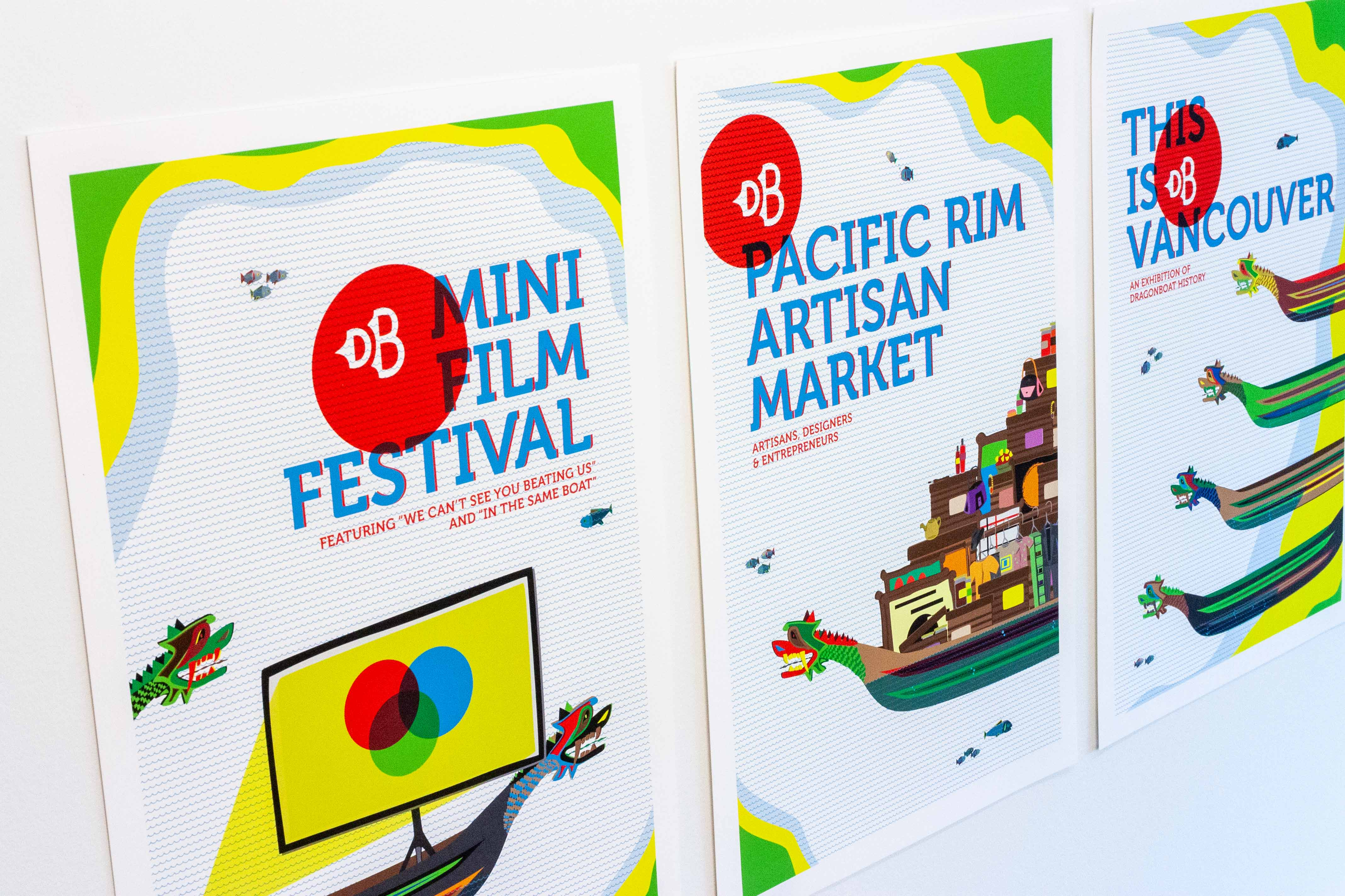 Colorful poster for Vancouver Dragon Boat Festival, featuring patterned waves, dragon boats and a variety of things available at the festival — by Dima Yagnyuk.