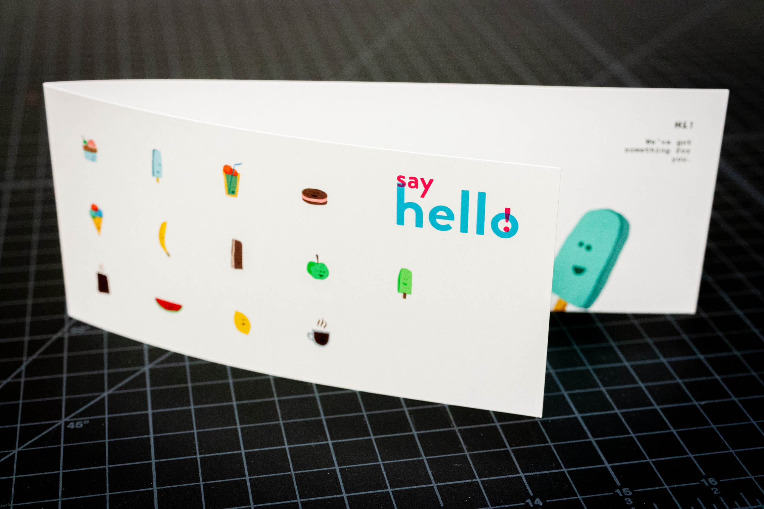 Say Hello Sweets gift card that folds in half showing and revealing underlying illustrationsr — by Yagnyuk.