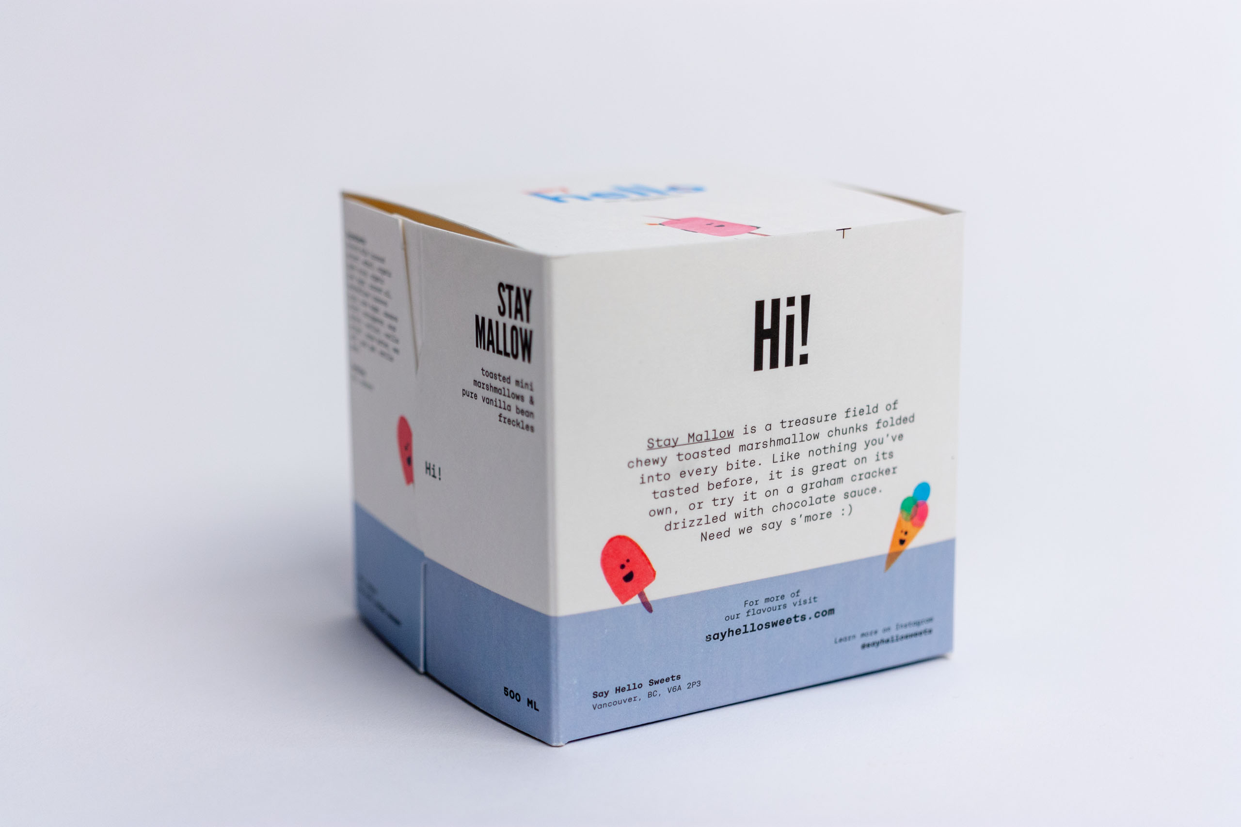 The back of the cube features flavour and recipe descriptions, flanked by colorful illustrations — by Yagnyuk.
