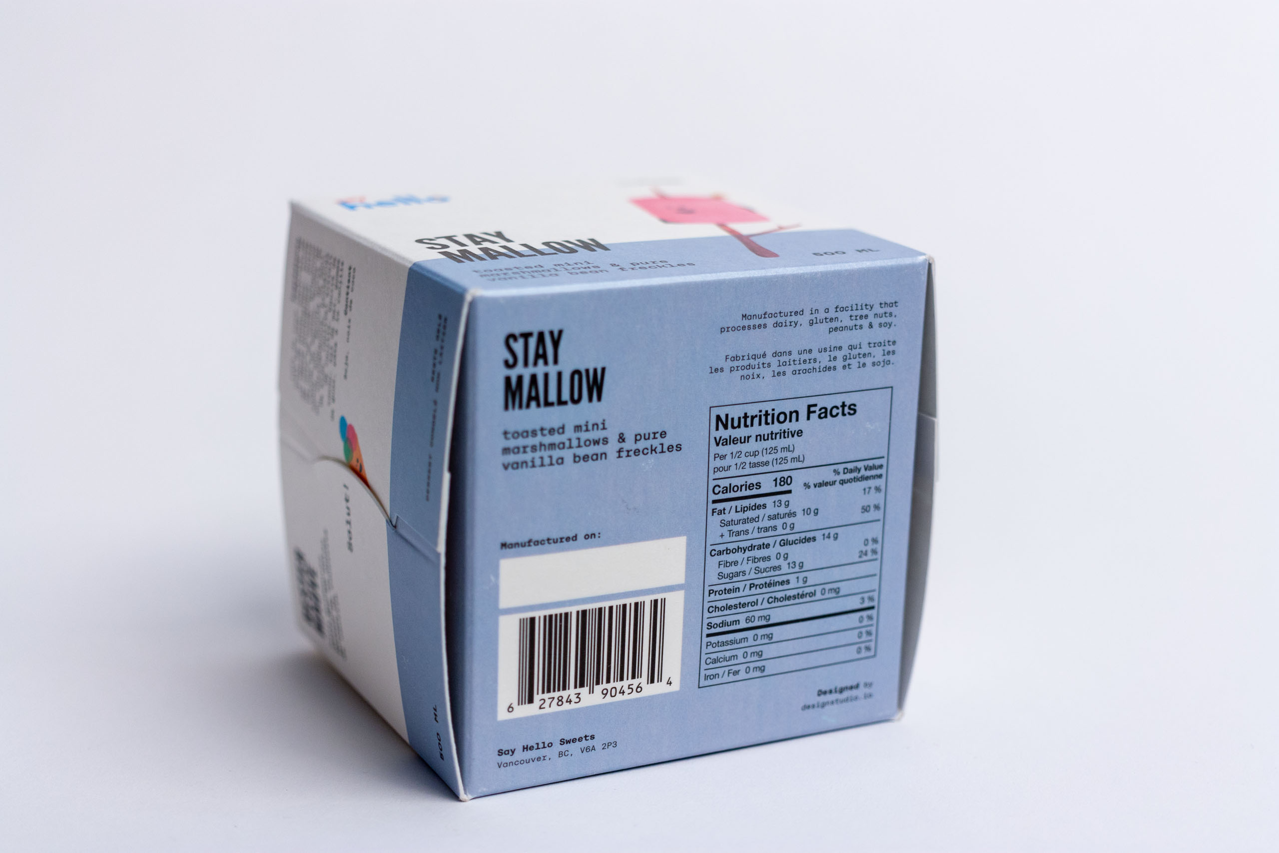 Underside of the cube shows the technical information, space for manufactured-on date, and the nutritional label — by Dima Yagnyuk.