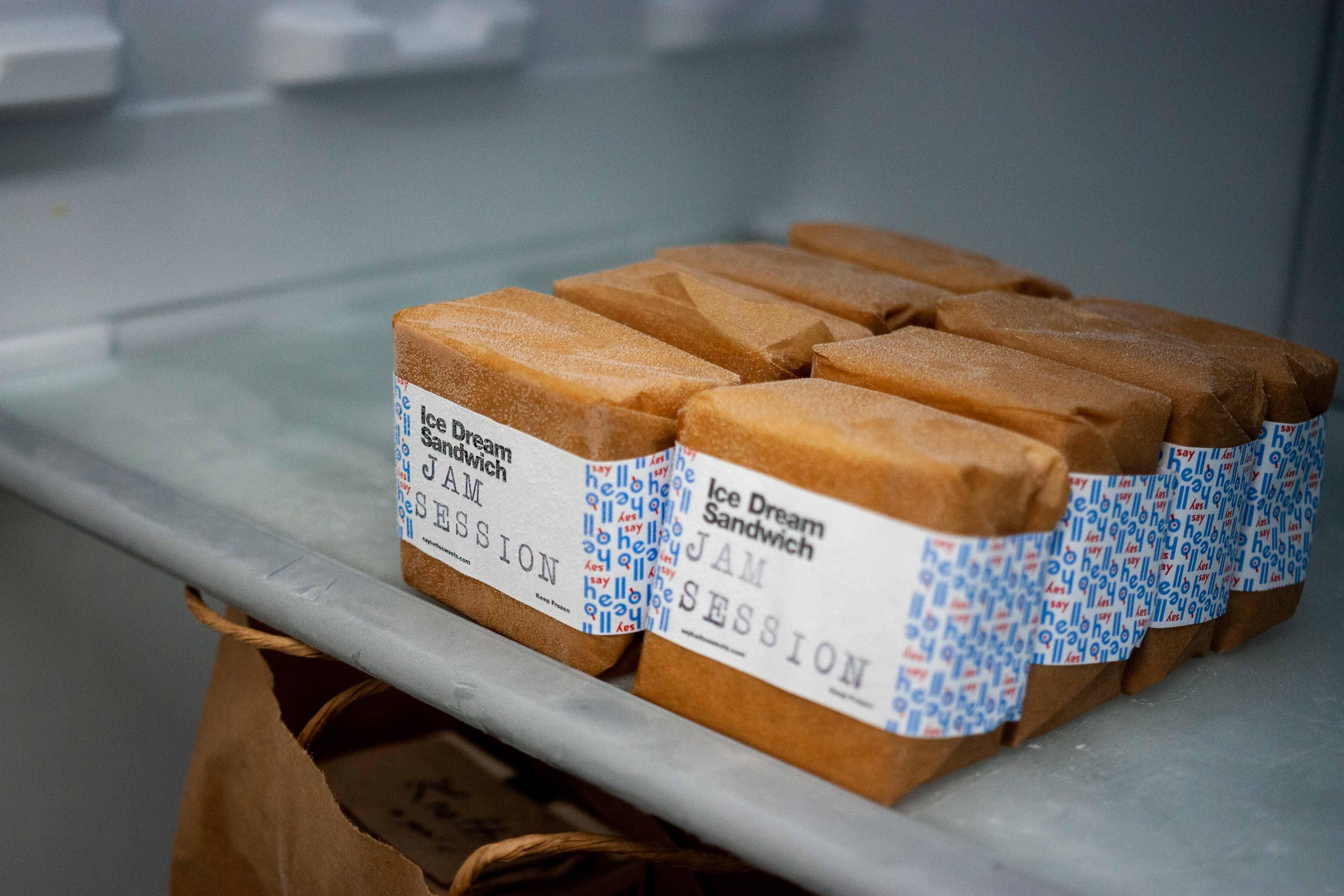 Say Hello Ice Cream Sandwiches inside a freezer — by Yagnyuk.