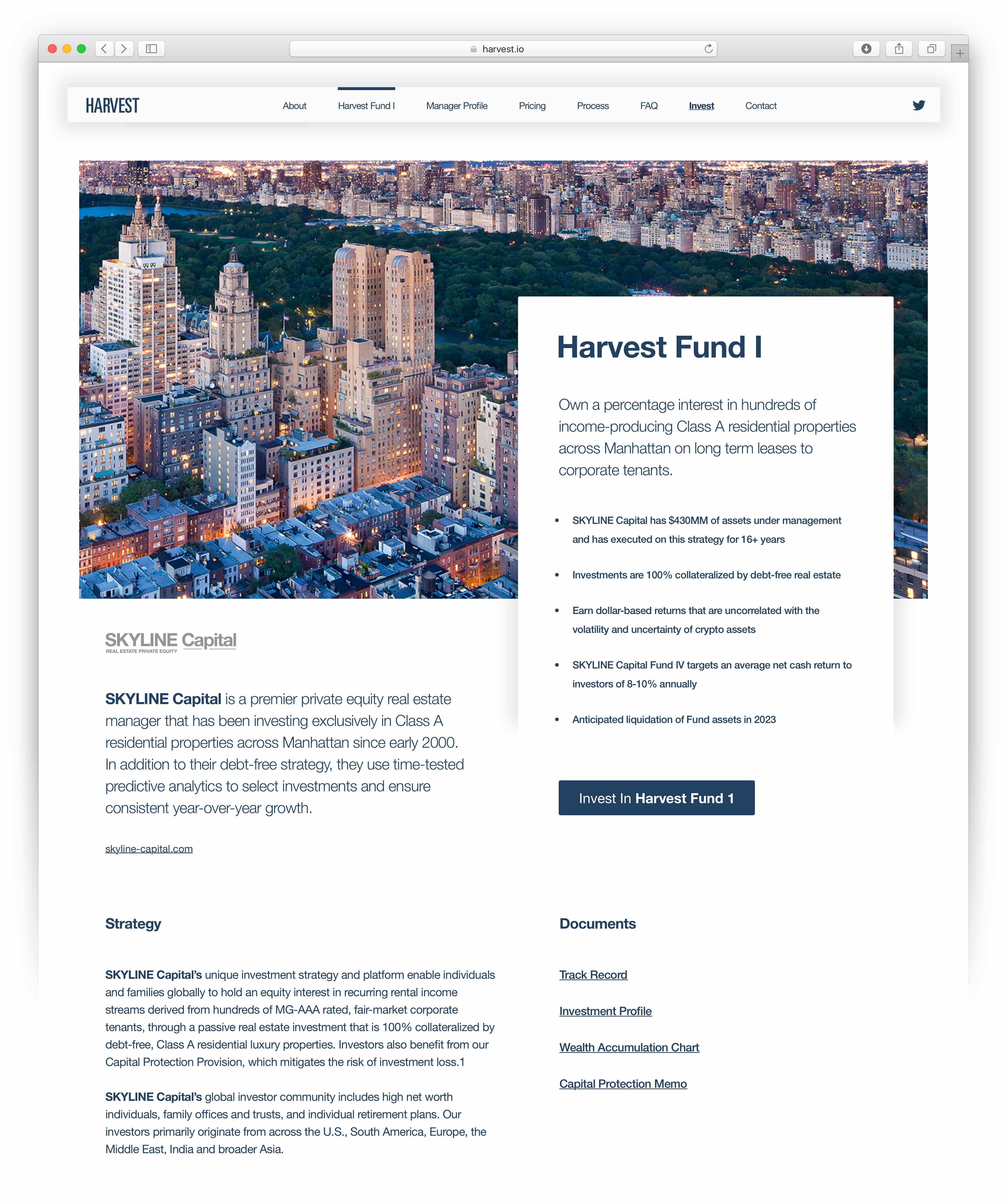 Harvest Fund 1 section providing property detail information in a 2 column layout set in Helvetica Neue — by Dima Yagnyuk.