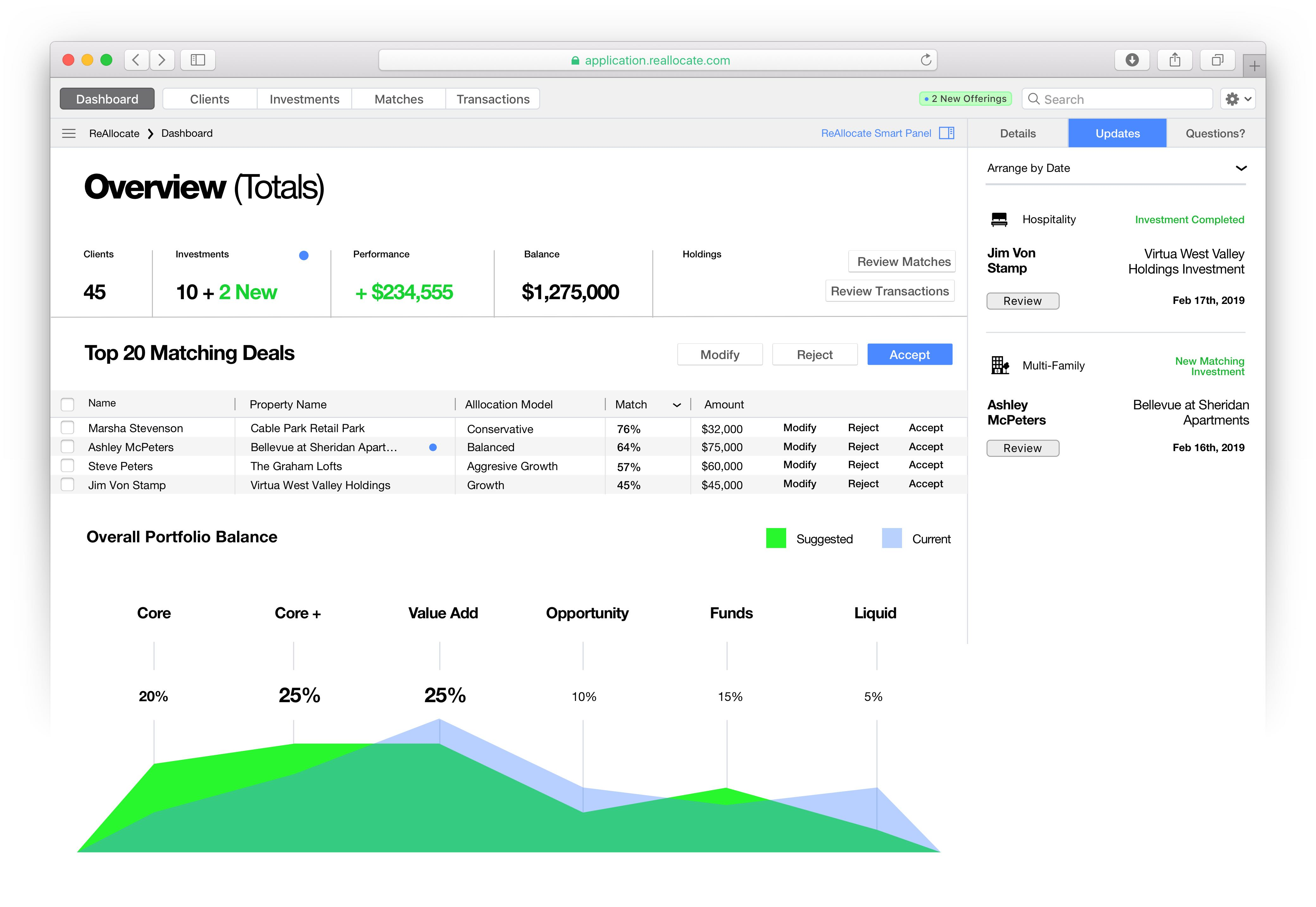 Data focused overview page application with portfolio balance visualization — Yagnyuk.