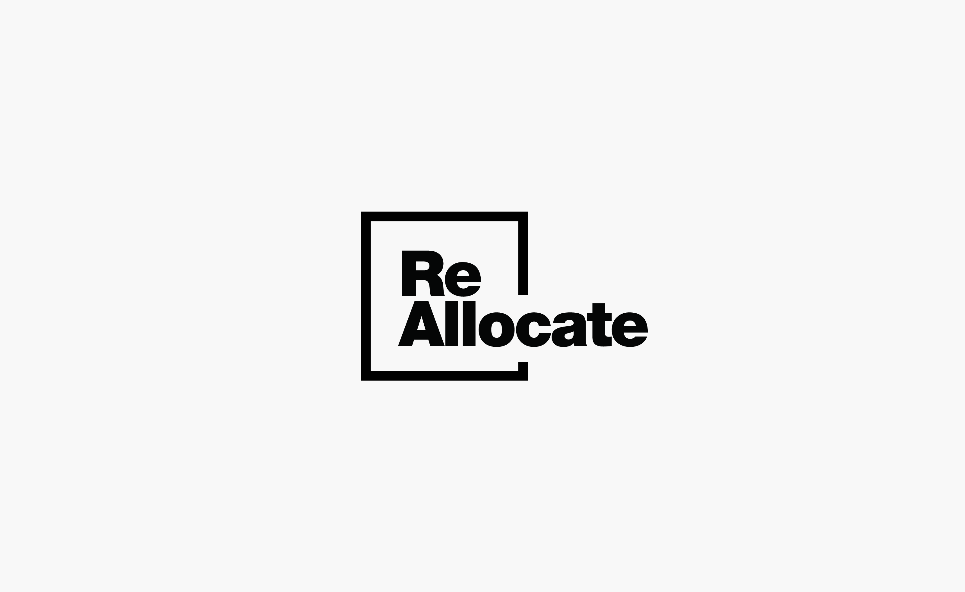 RealCrowd ReAllocate logo centered on a grey background — by Yagnyuk.