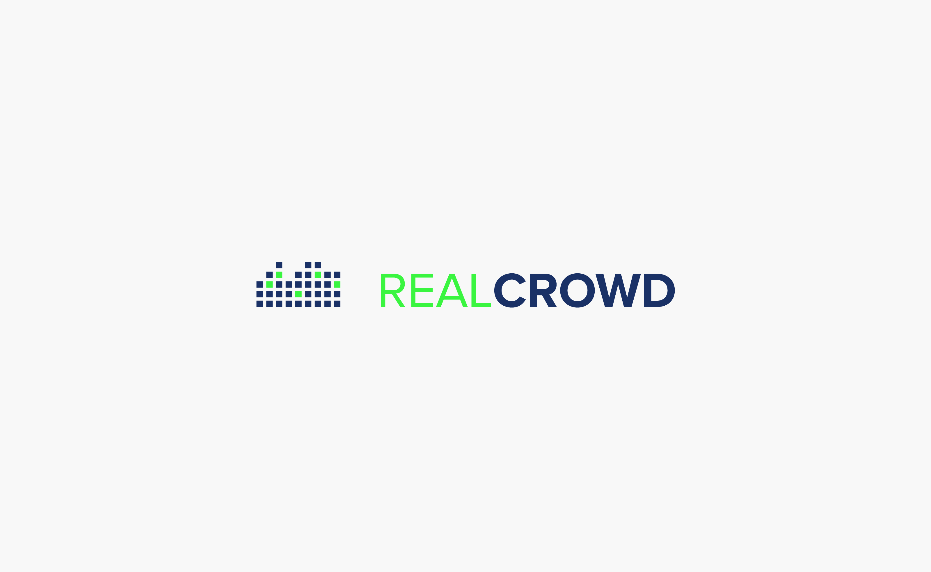 RealCrowd Logo centered on a grey background — by Yagnyuk.