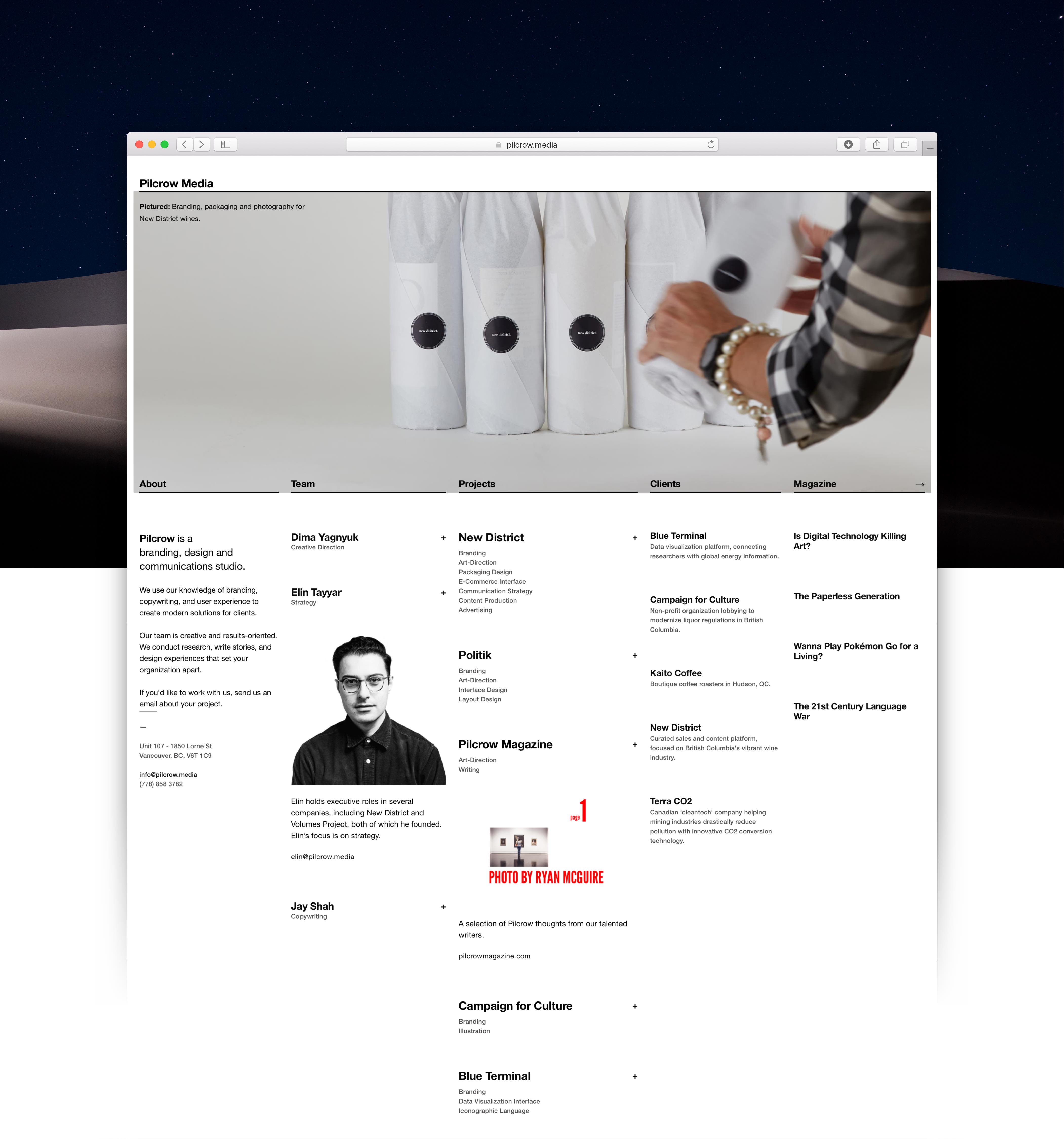 Pilcrow Media website with a prominent banner images of wine bottles and a five column grid for about, team, projects, clients, and magazine sections — Website by Dima Yagnyuk