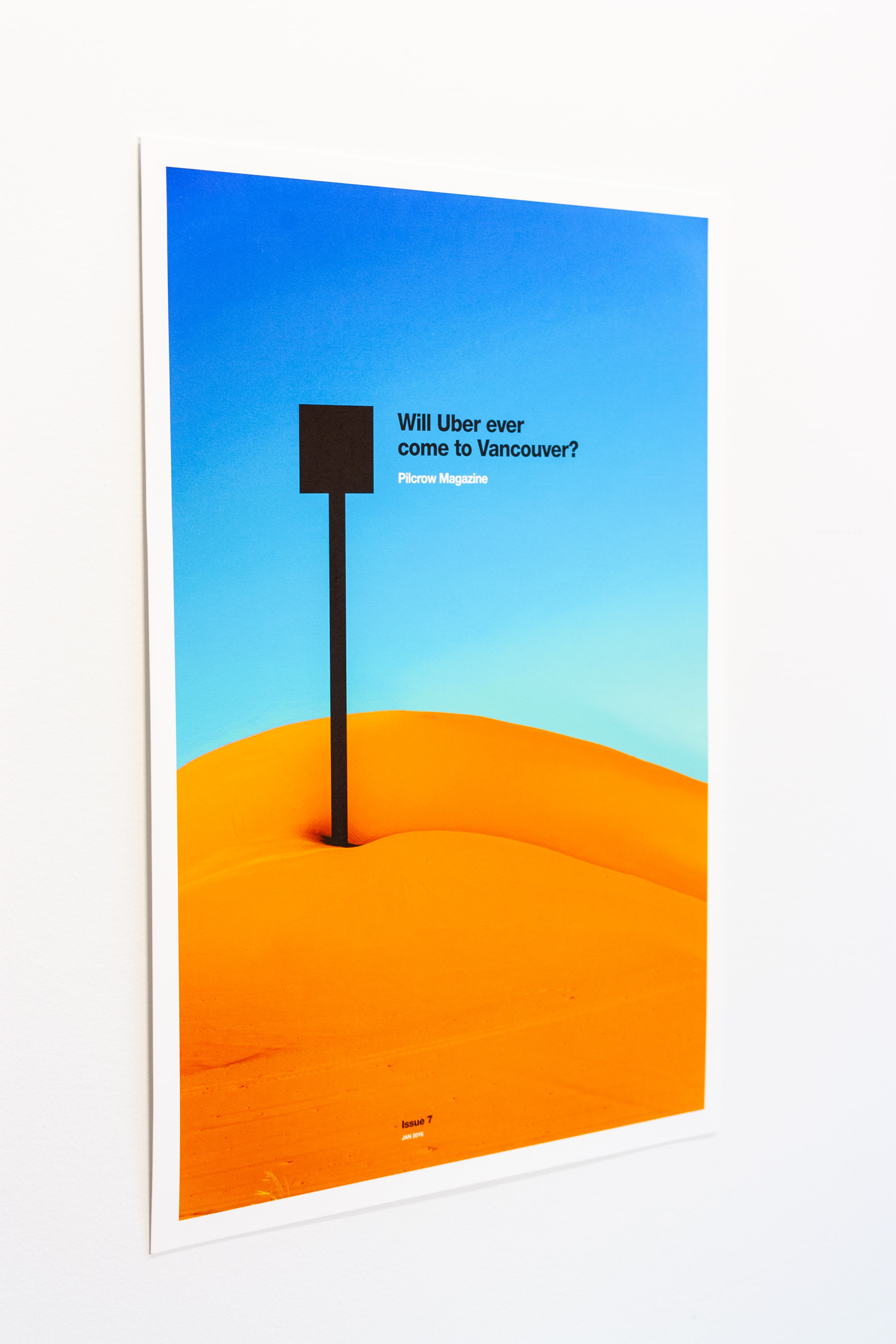 Pilcrow Magazine advert for issue seven, featuring sand dunes photo distorted into butt cheeks with a pin — by Yagnyuk.