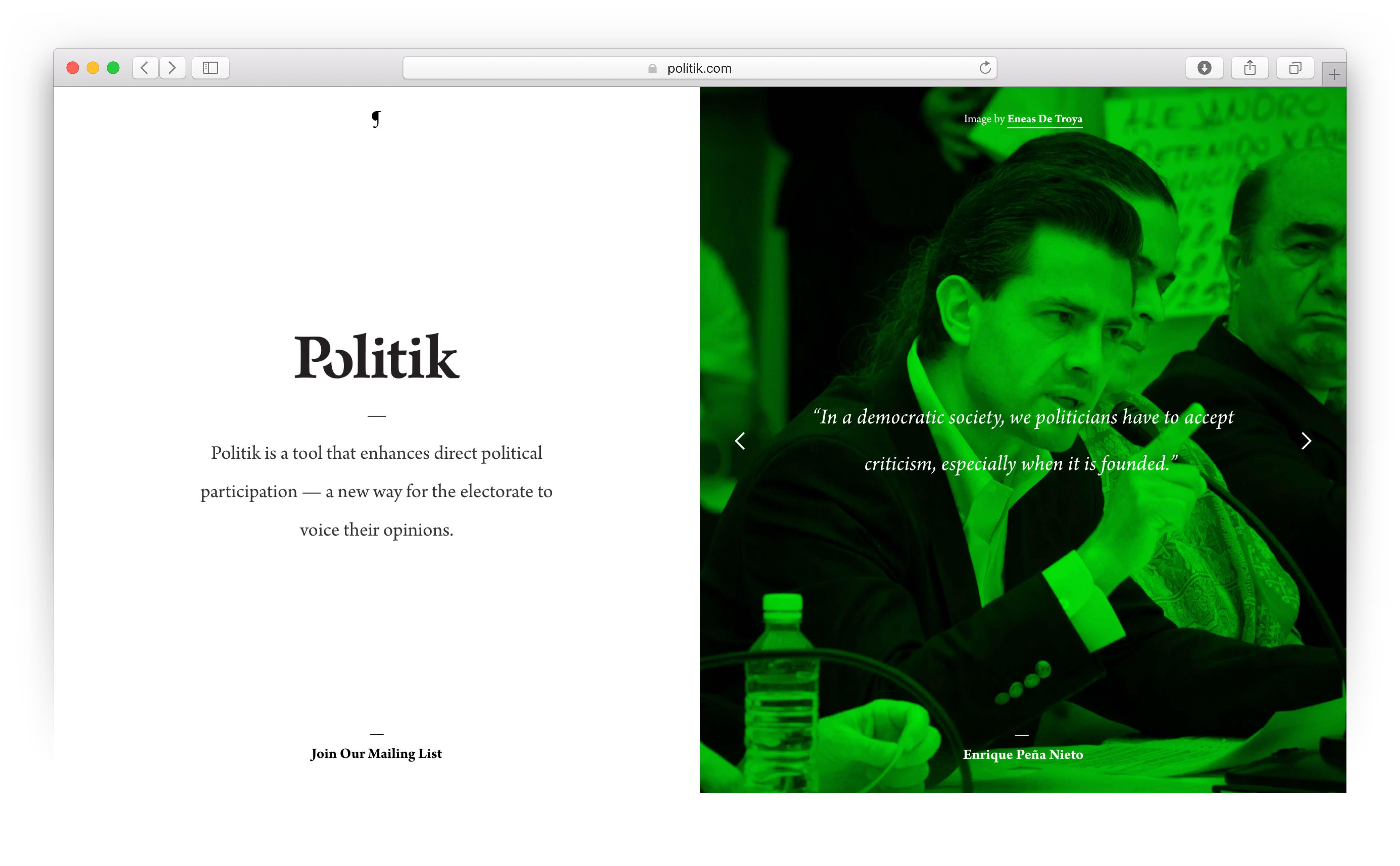 Neon green Politik page featuring photo and quote from Enrique Pena Nieto — by Yagnyuk.