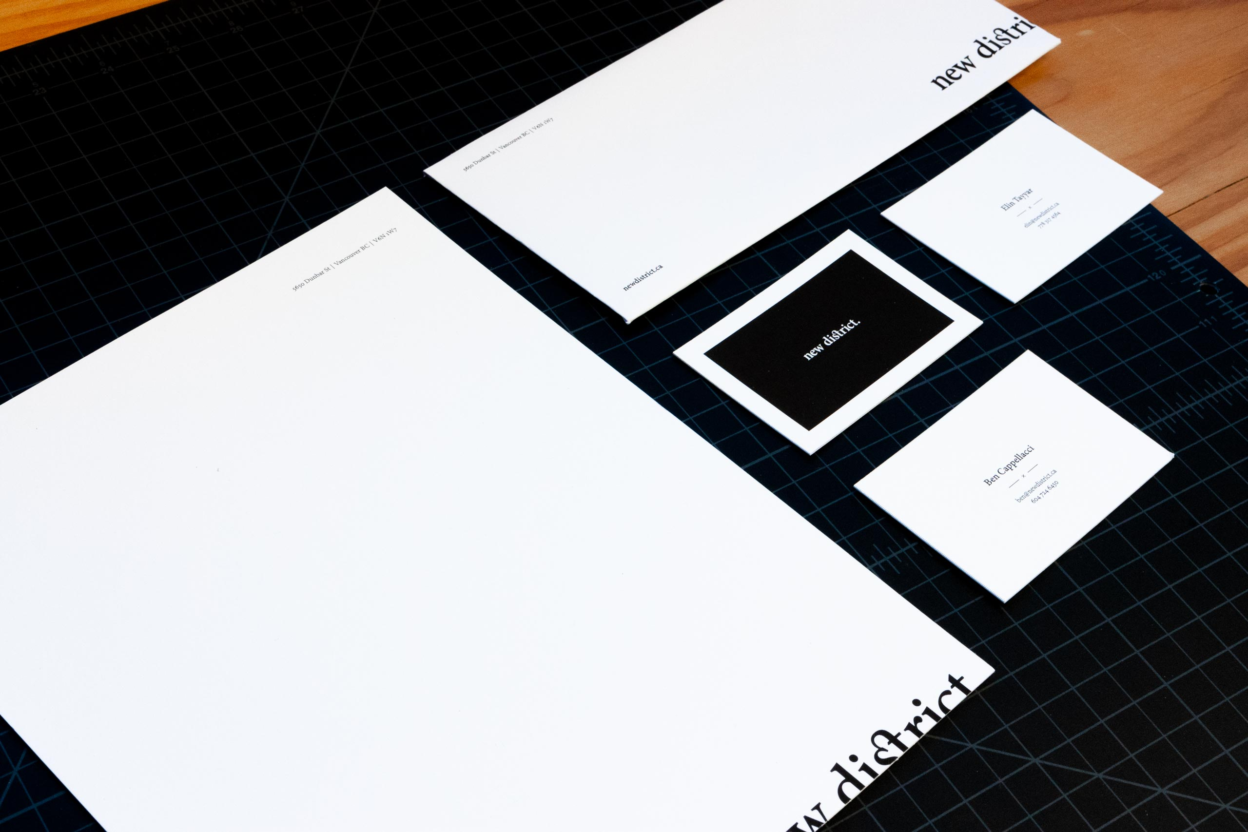 New District letterhead, envelope and business cards — by Dima Yagnyuk.