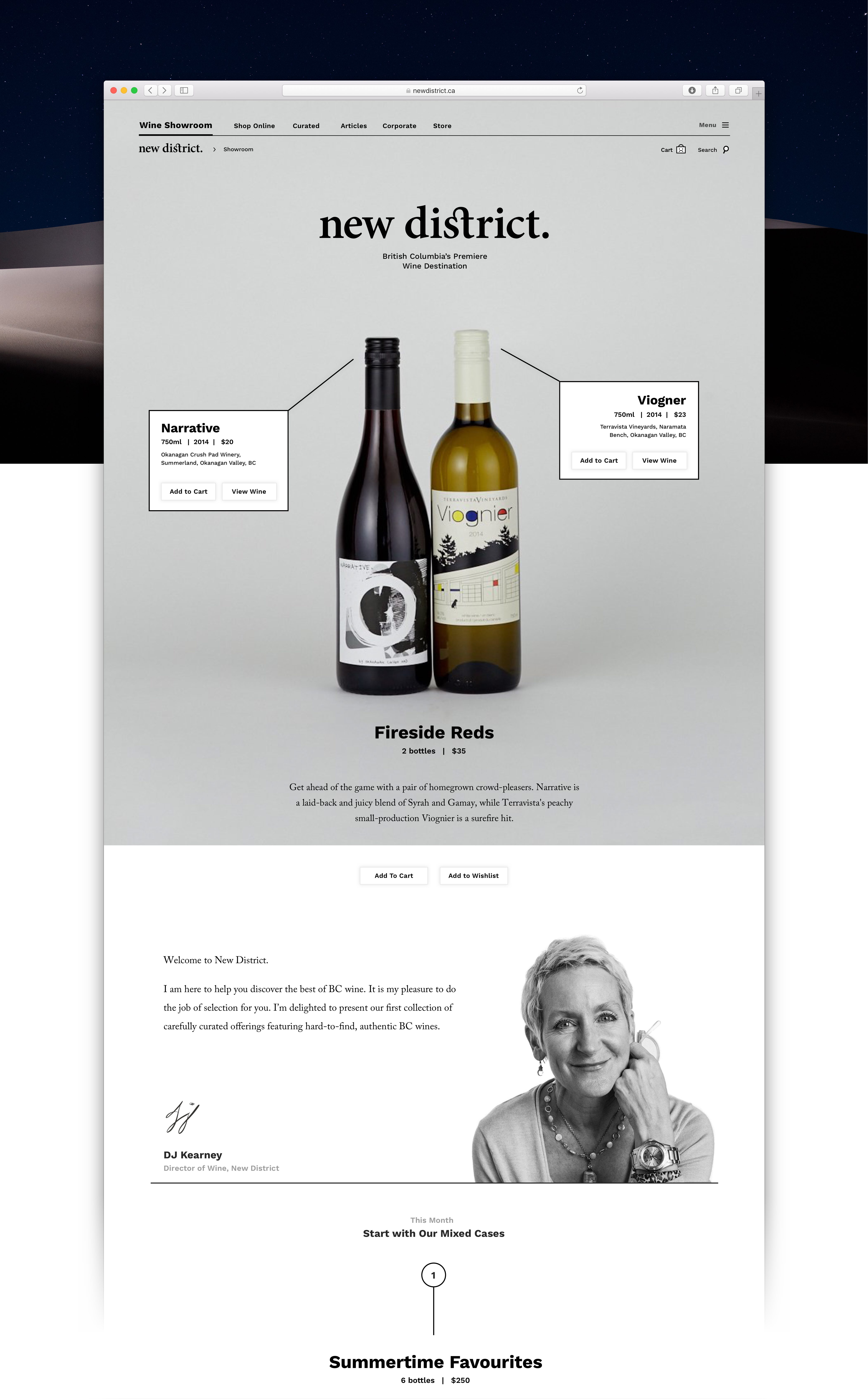 Showroom home page showcase premium red wine collection and a message for DJ Keaney Director of Wine at New District — by Dima Yagnyuk.