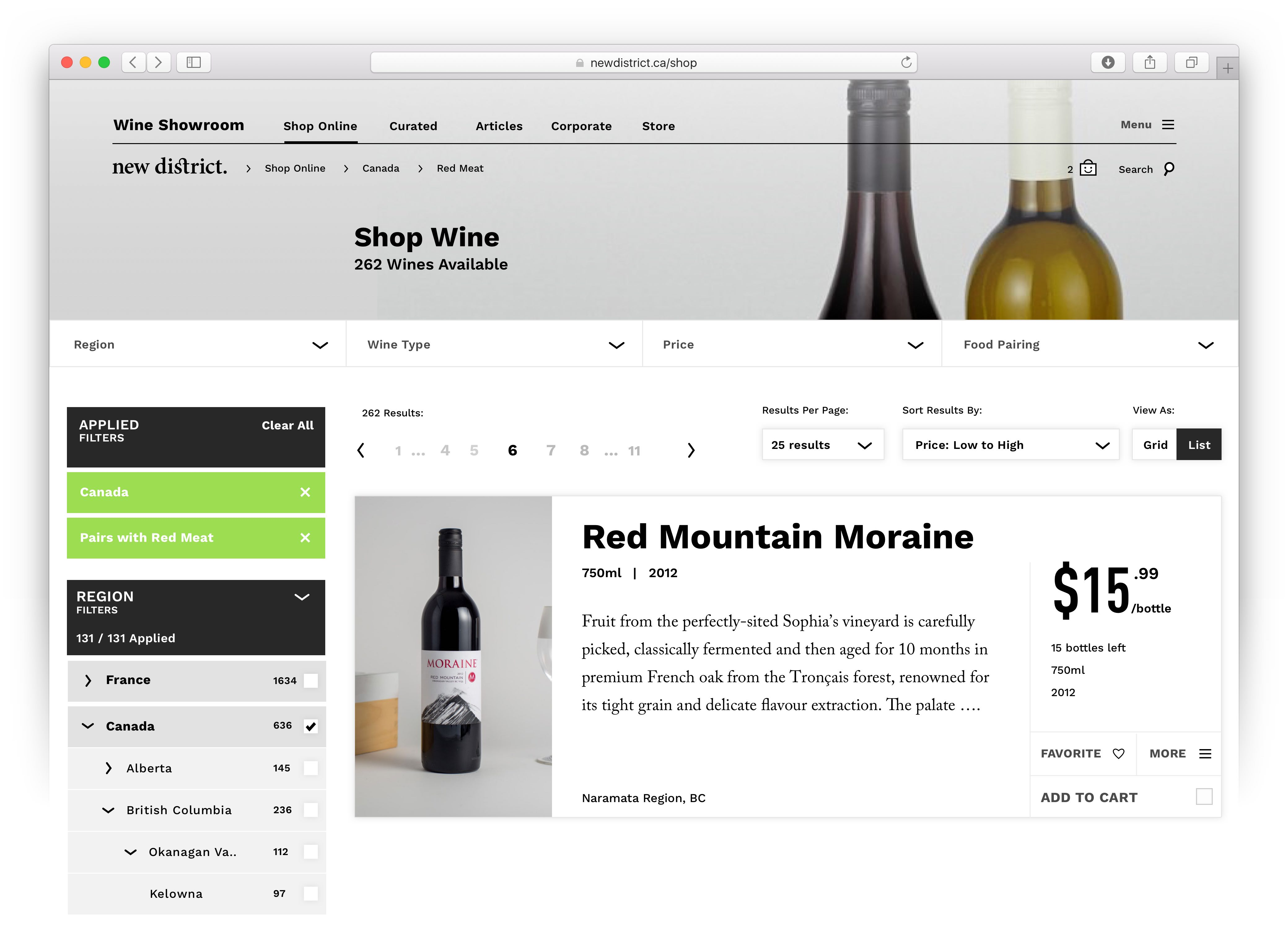 User interface of the Shop Wine page showing navigation, redundant filtering controls, pagination, arrange by and view controls — by Yagnyuk.