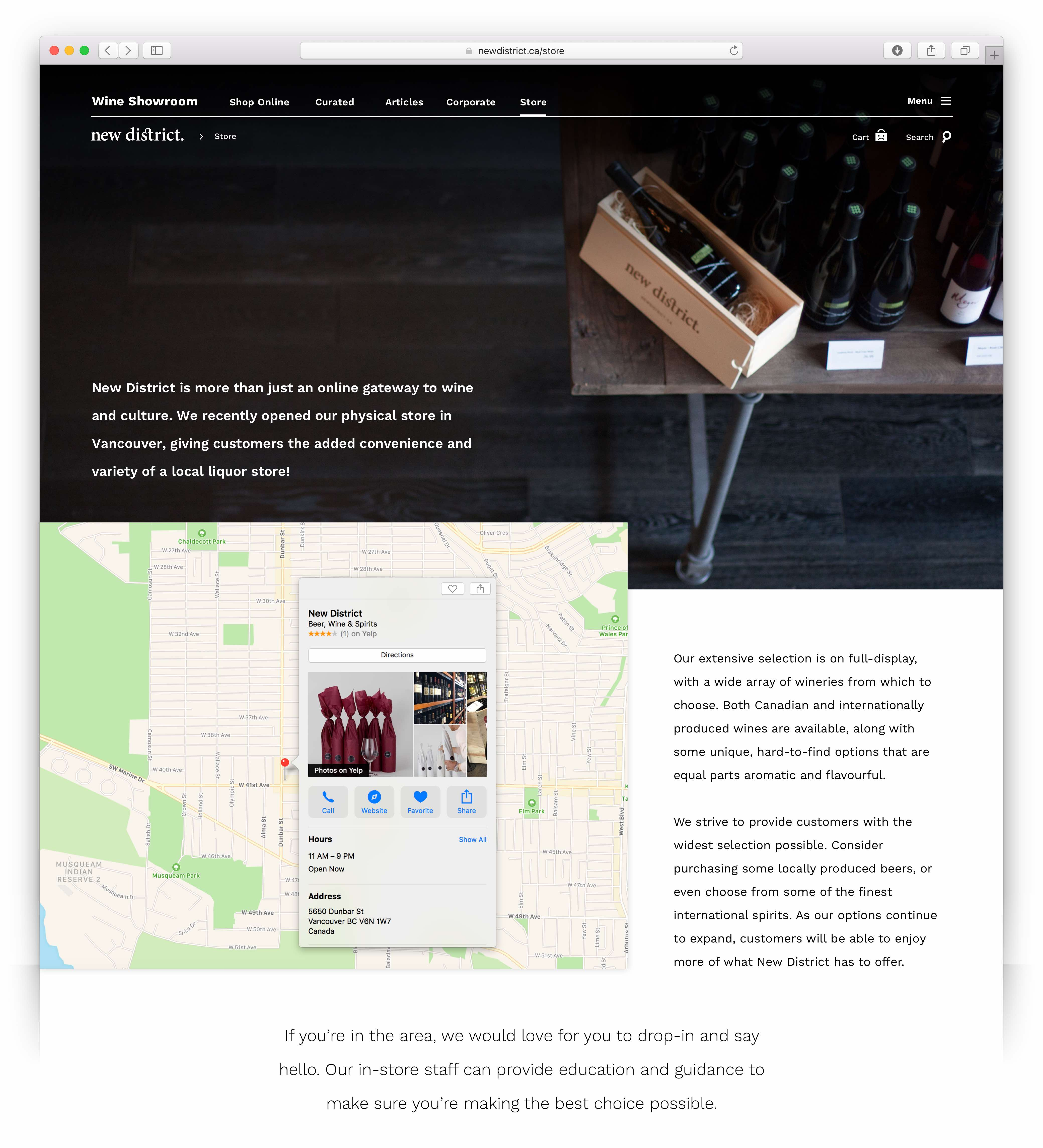 User interface of the about the store page showcase interior photography of the New District wine shop, its location map and details — by Yagnyuk.