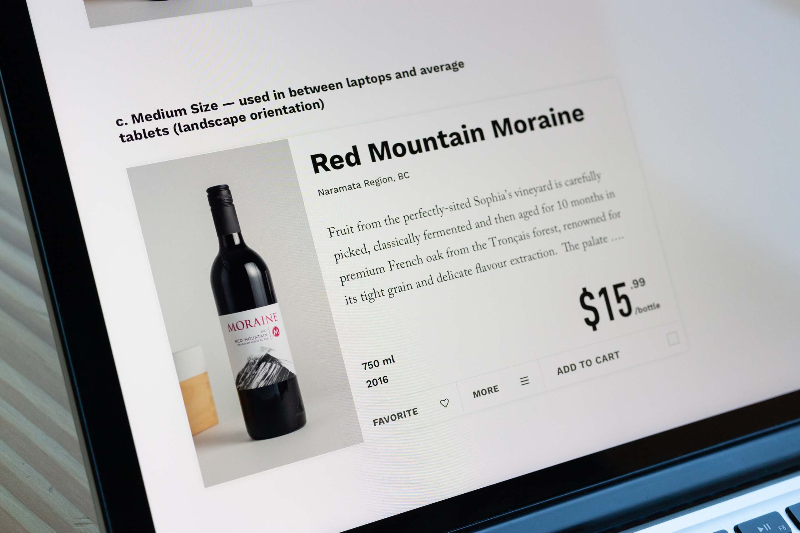 Close up of the mid size product card as it appears in the shop wine sections on detail view — by Yagnyuk.