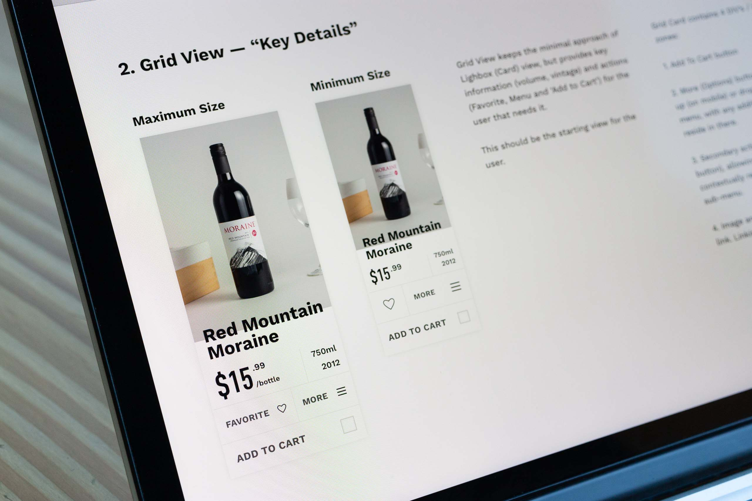 Close up view of the Grid style product view card for shop wine e-commerce — by Yagnyuk.