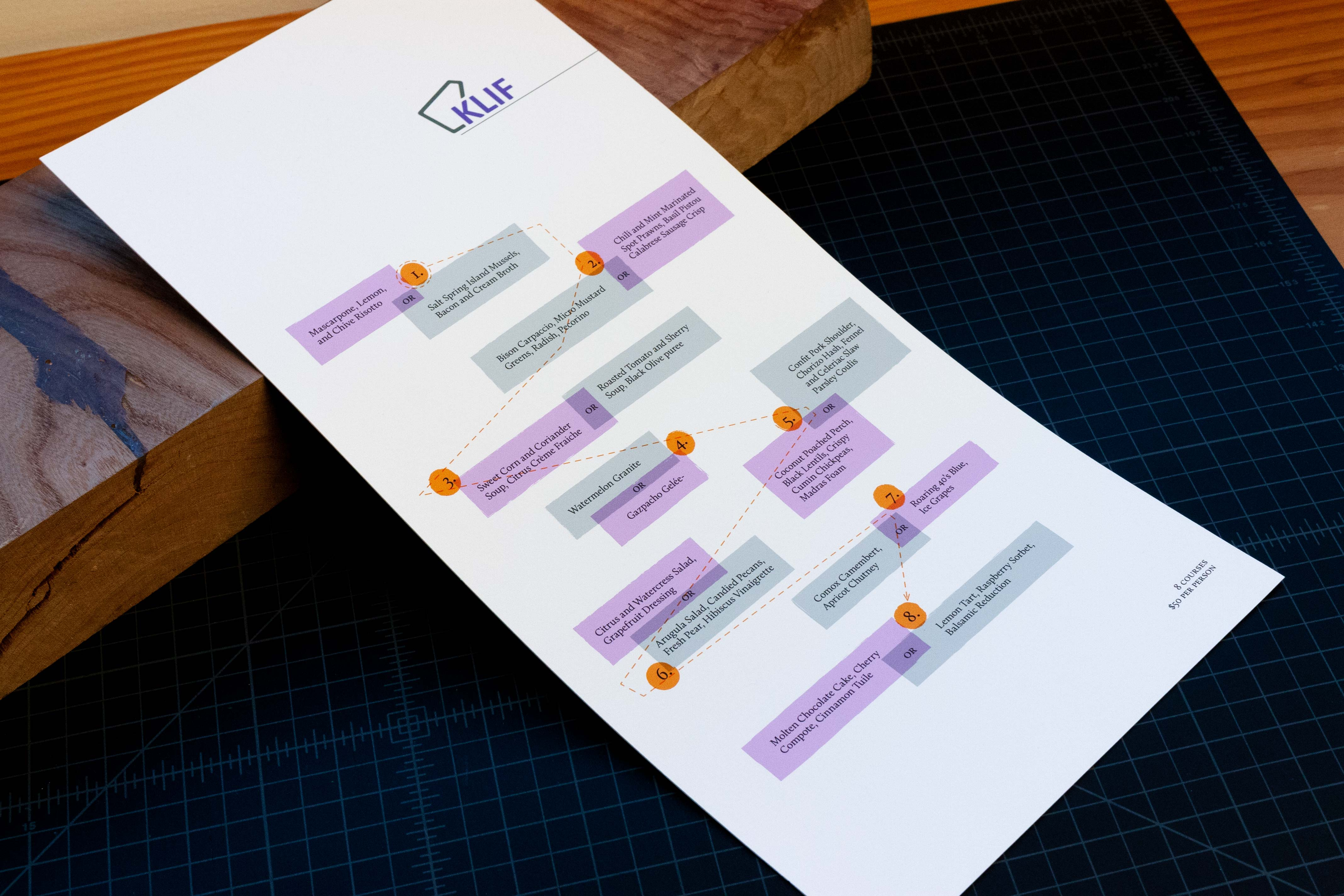 Restaurant Menu with options playfully and asymmetrically arranged on the page in complimenting purple and grey colors — by Yagnyuk.