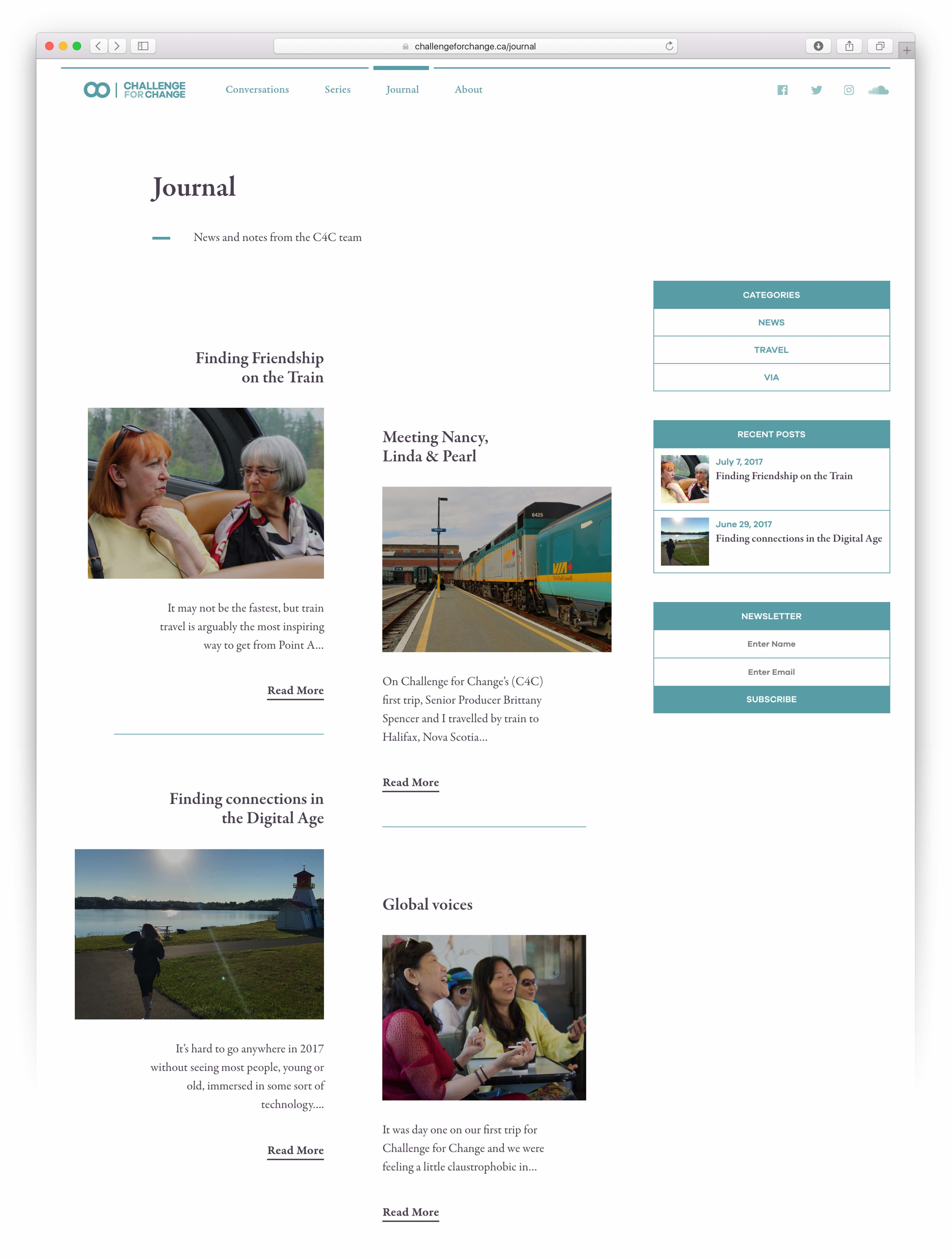 User interface for the journal module of Challenge for Change, built on a three column grid with first two filled by asymmetrically laid out articles and third filled with categories, newsletter and recent post modules — by Dima Yagnyuk.