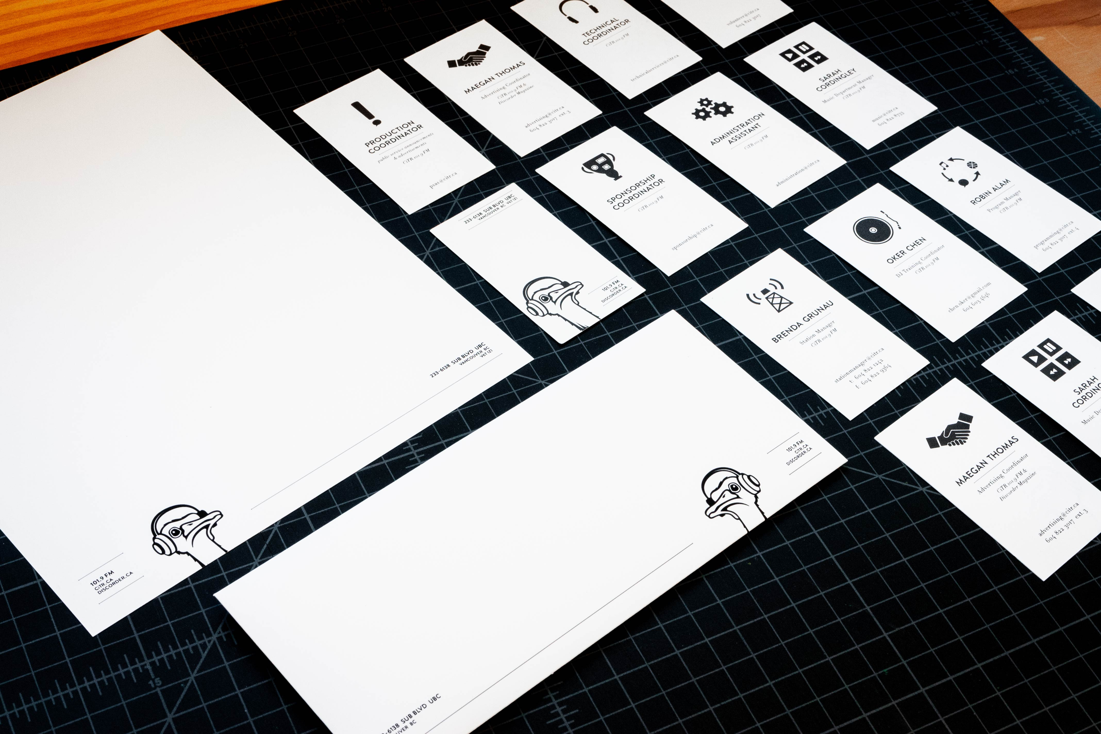 CiTR Radio iconographic business cards, letterhead and envelopes — by Yagnyuk.