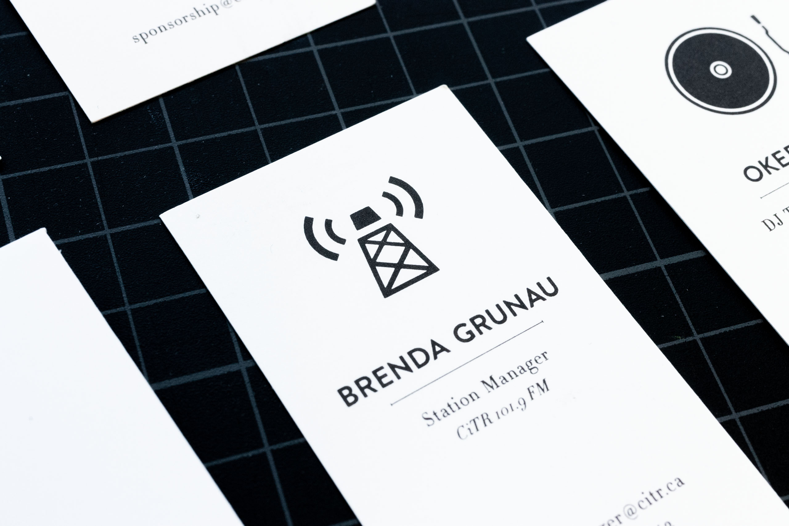 Close up of CiTR Radio Station Manager business card with an illustration of a radio tower — by Dima Yagnyuk.