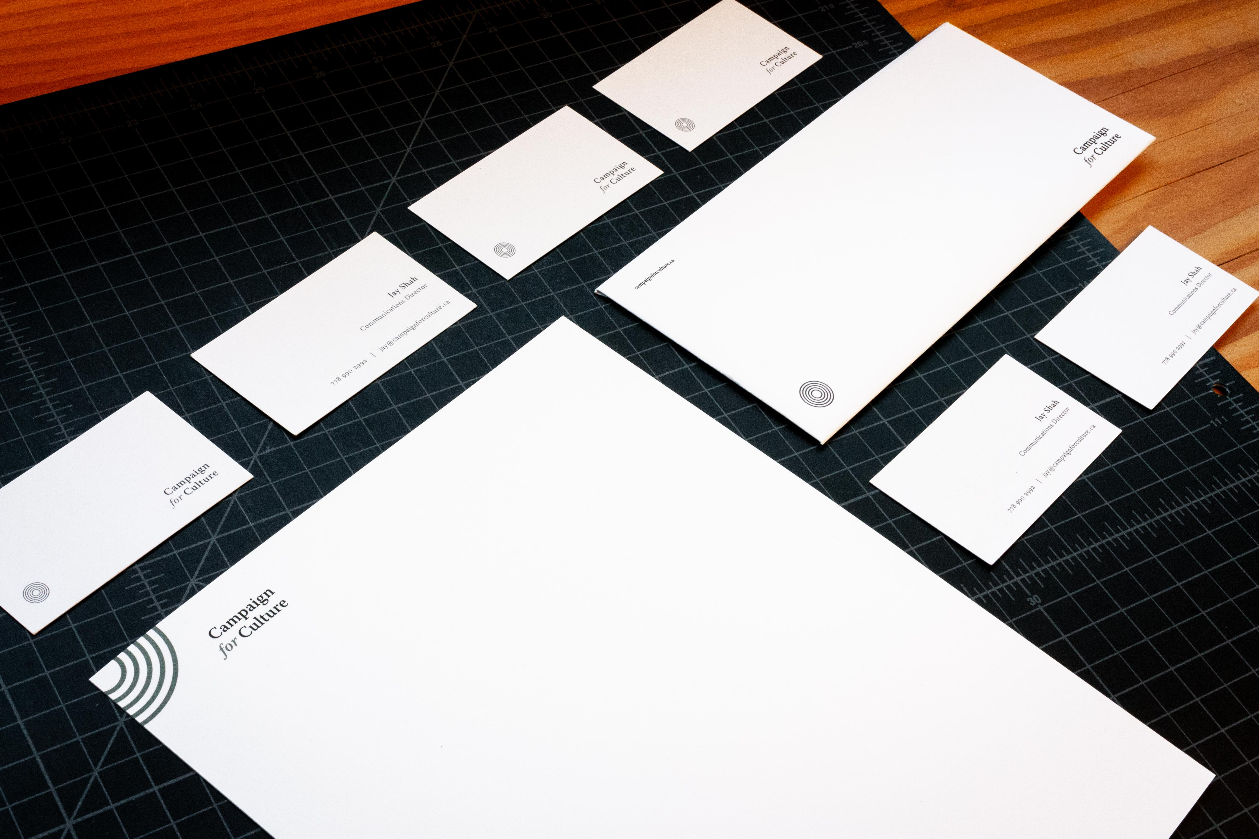 Campaign for Culture stationary including letterhead, business cards and envelopes — by Yagnyuk.