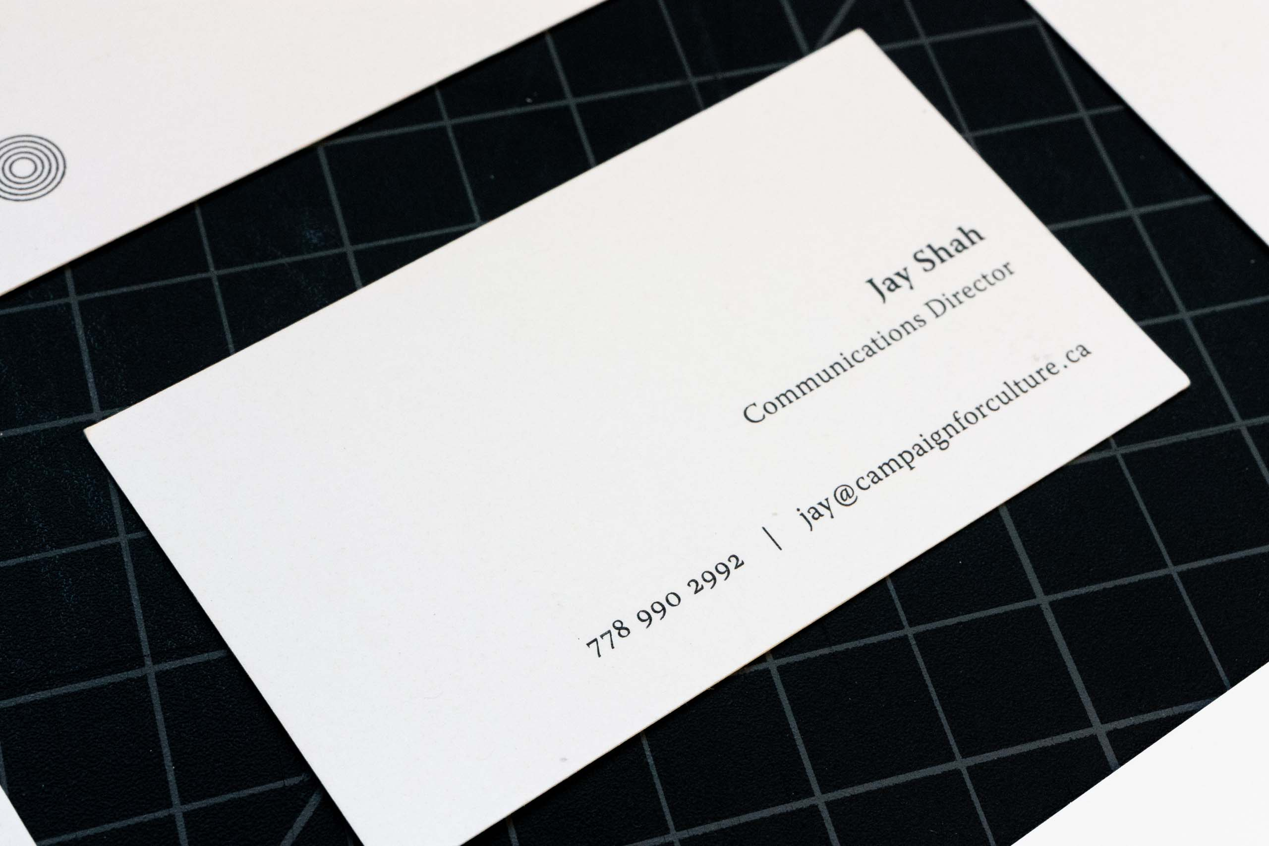 Campaign for Culture information side of the business cards featuring Communication Director — by Yagnyuk.