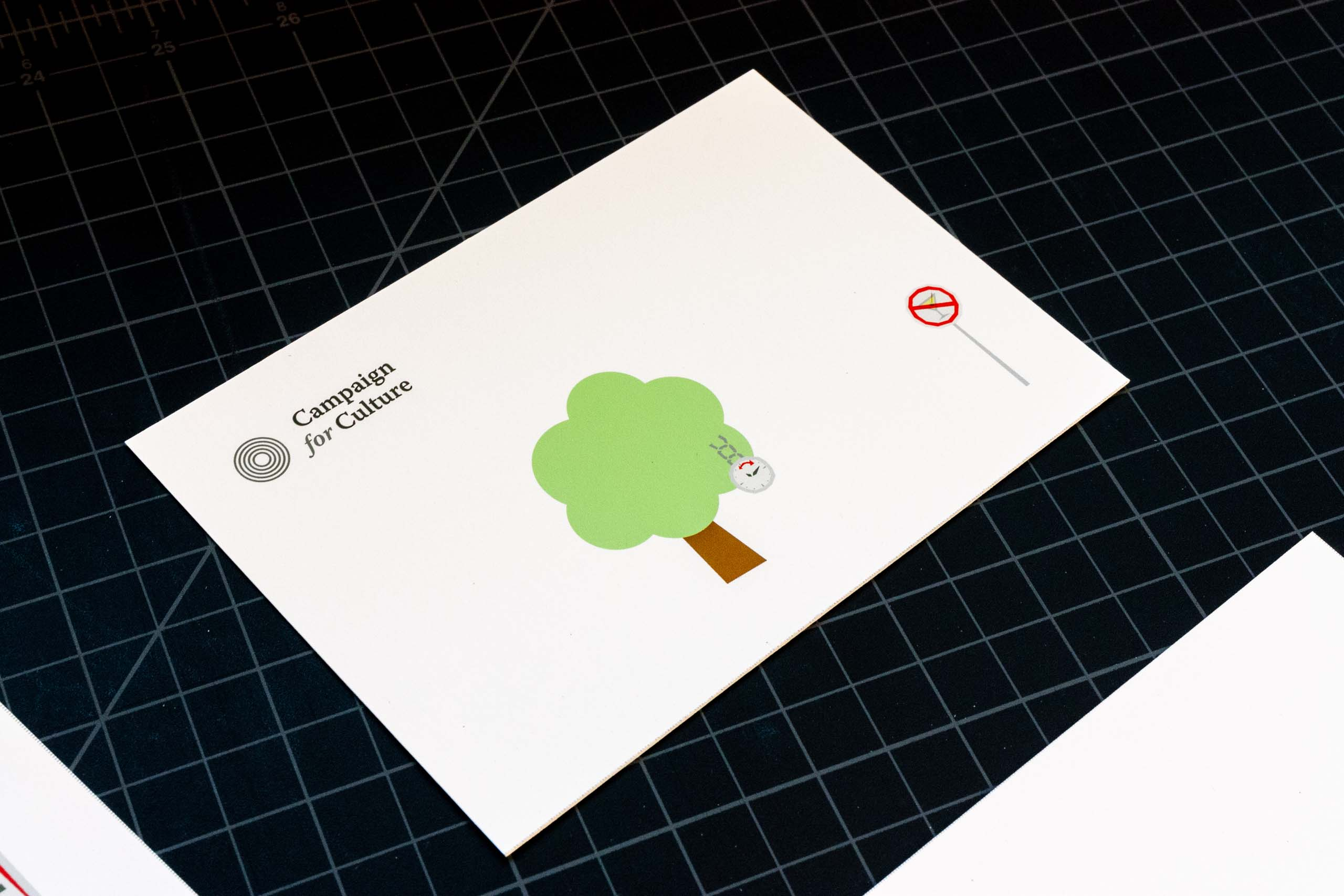 Campaign for Culture postcard with a tree and clock illustration — by Yagnyuk.