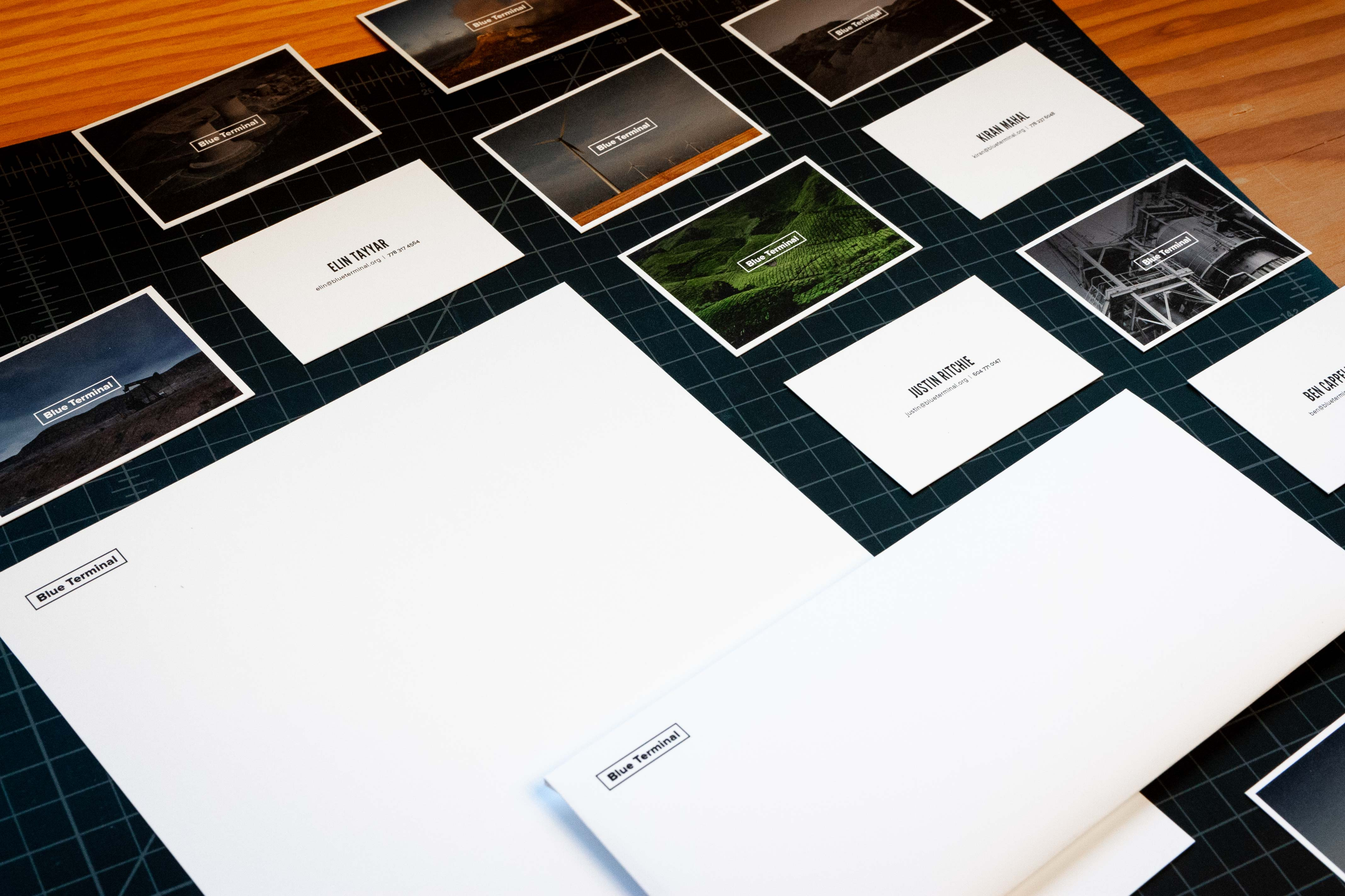Blue Terminal letterhead, envelope and business cards featuring energy related photography — by Yagnyuk.
