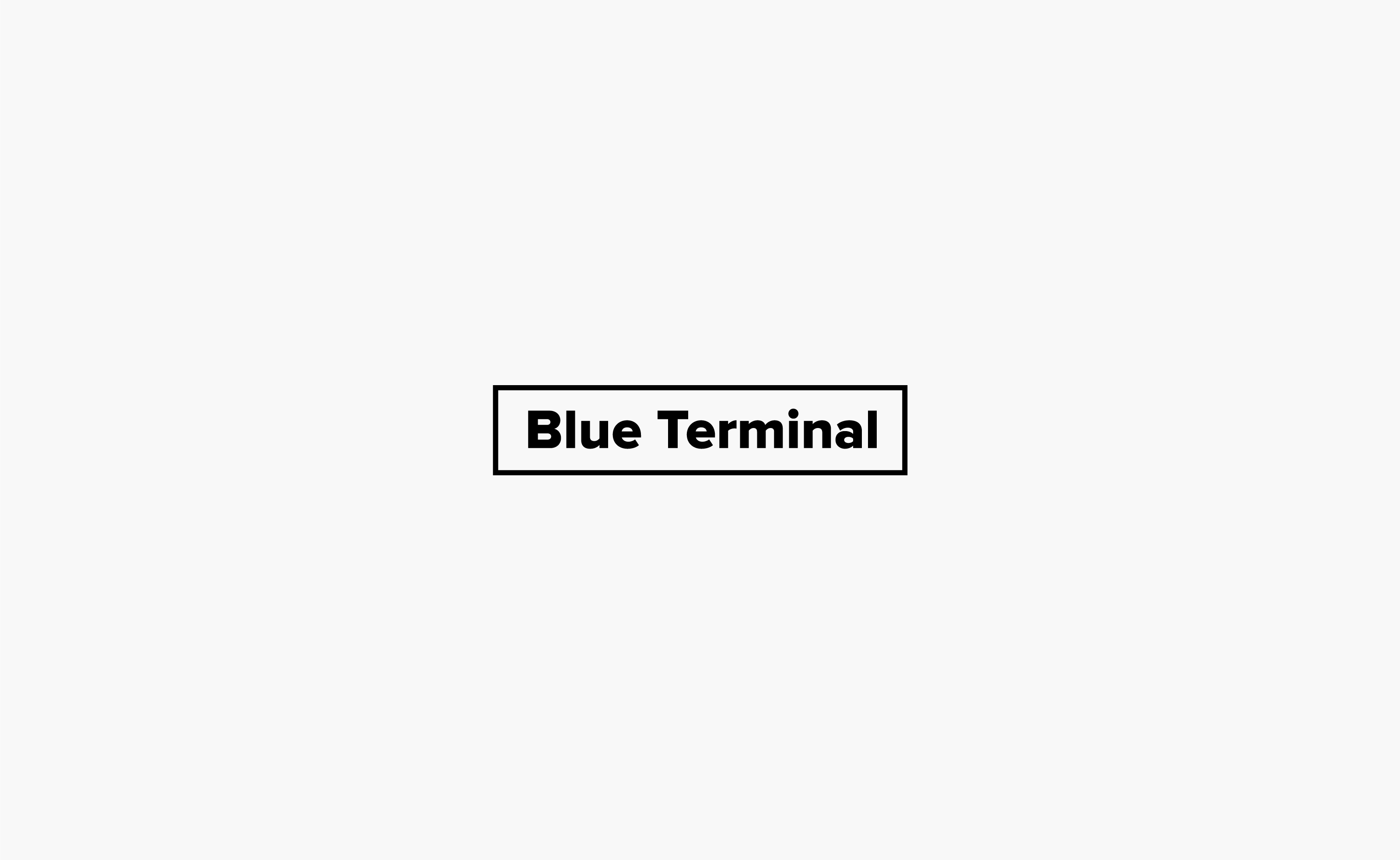 Blue Terminal logo centred on a light grey background — by Yagnyuk.