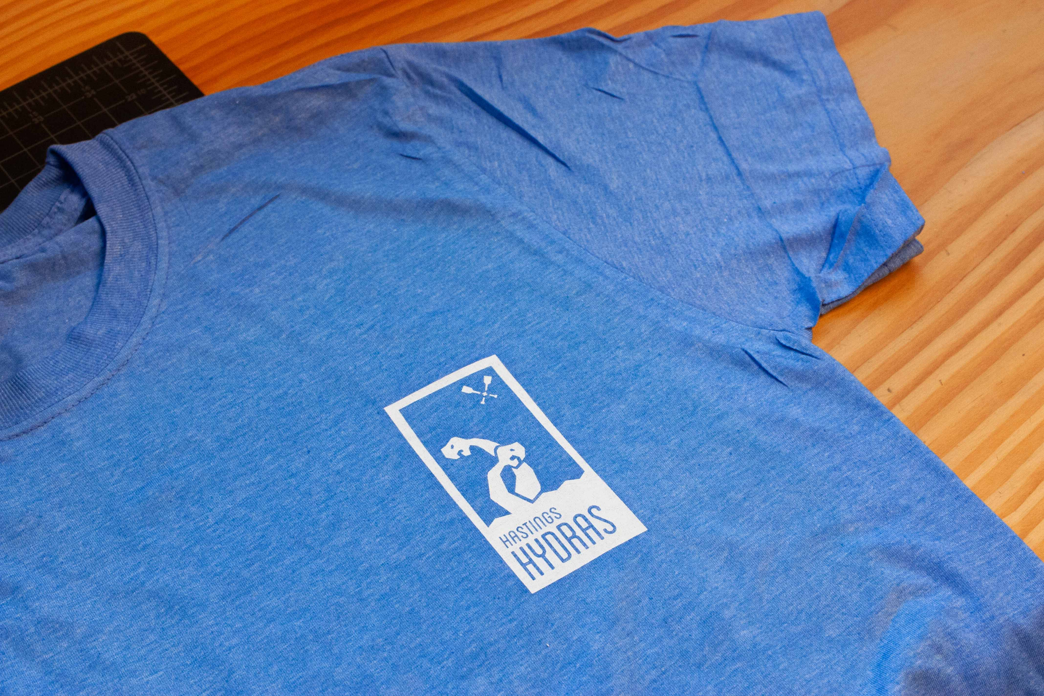 Hasting Hydras logo printed on a heather blue team shirt — by Yagnyuk.