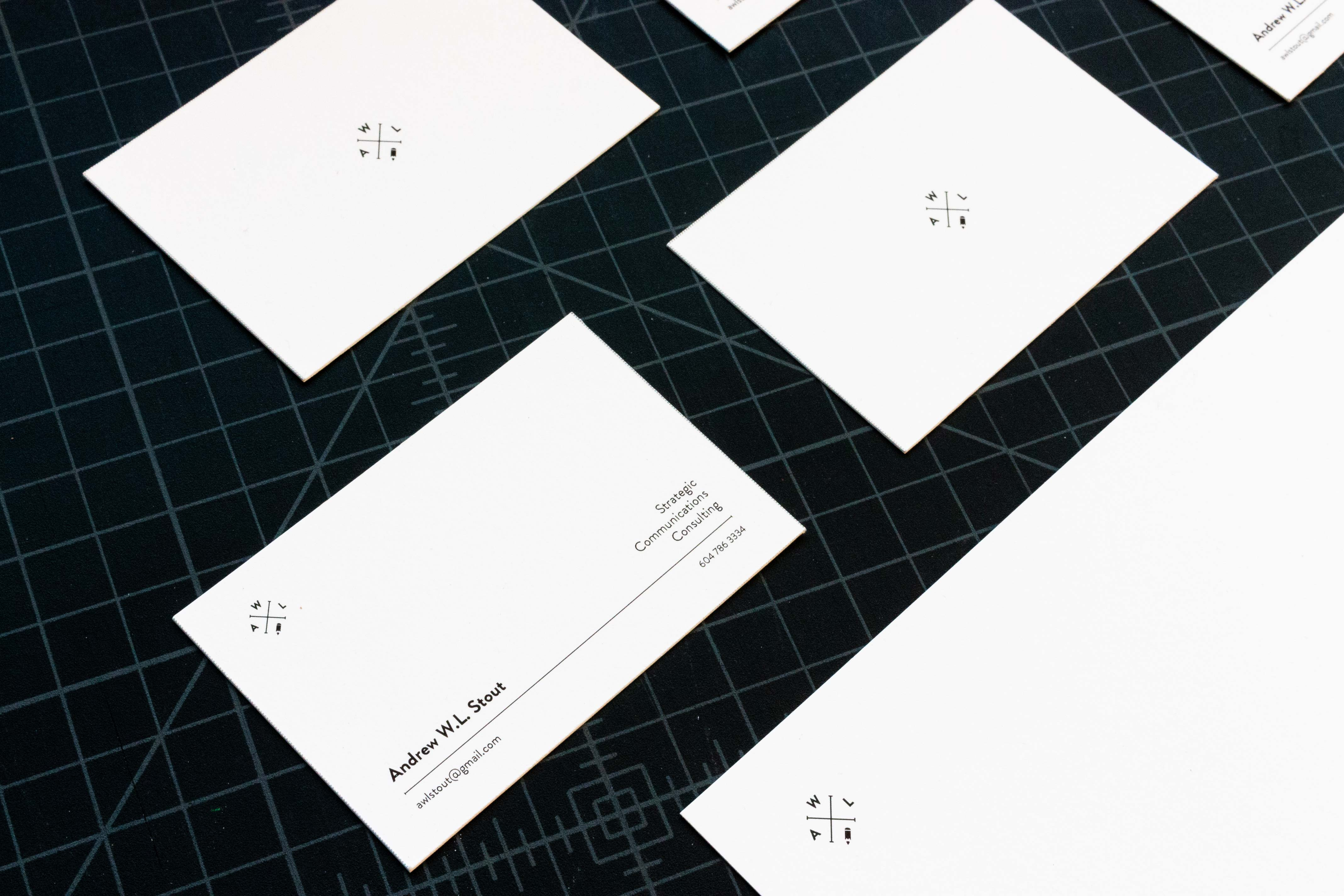AWL Consulting business cards and top of the letterhead — by Yagnyuk.