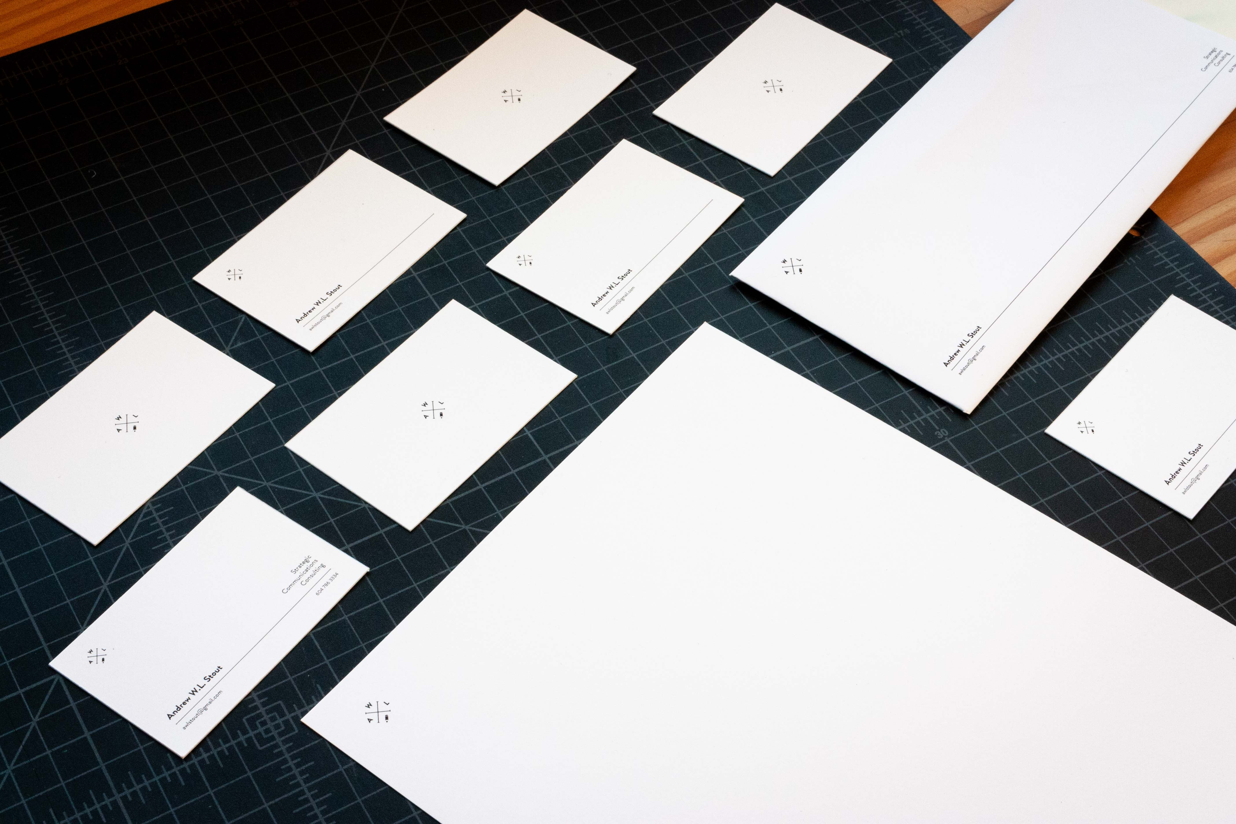 AWL Consulting business cards, envelopes and letterhead — by Yagnyuk.