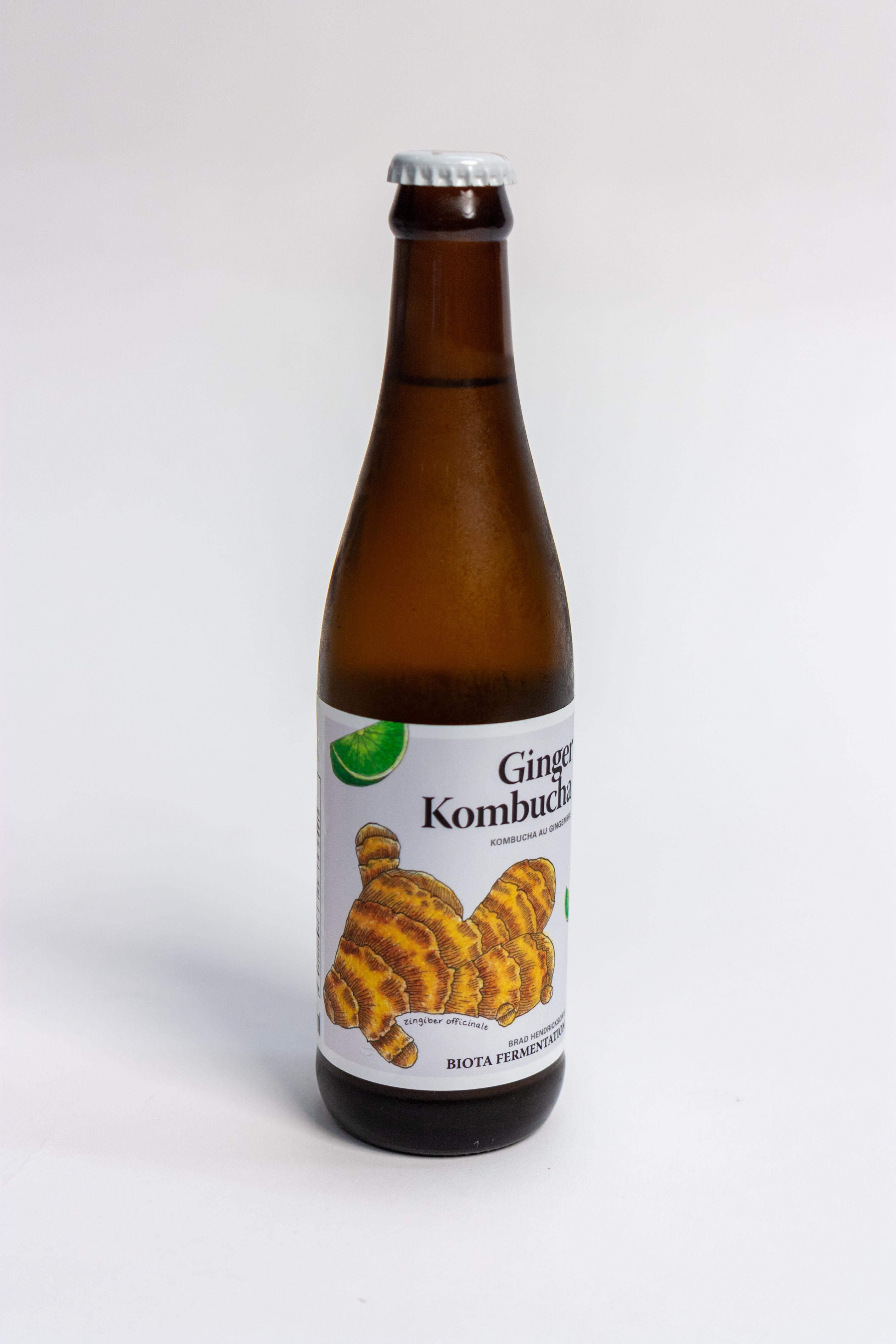 Ginger Kombucha bottle with ginger illustration on lavender background — by Yagnyuk.