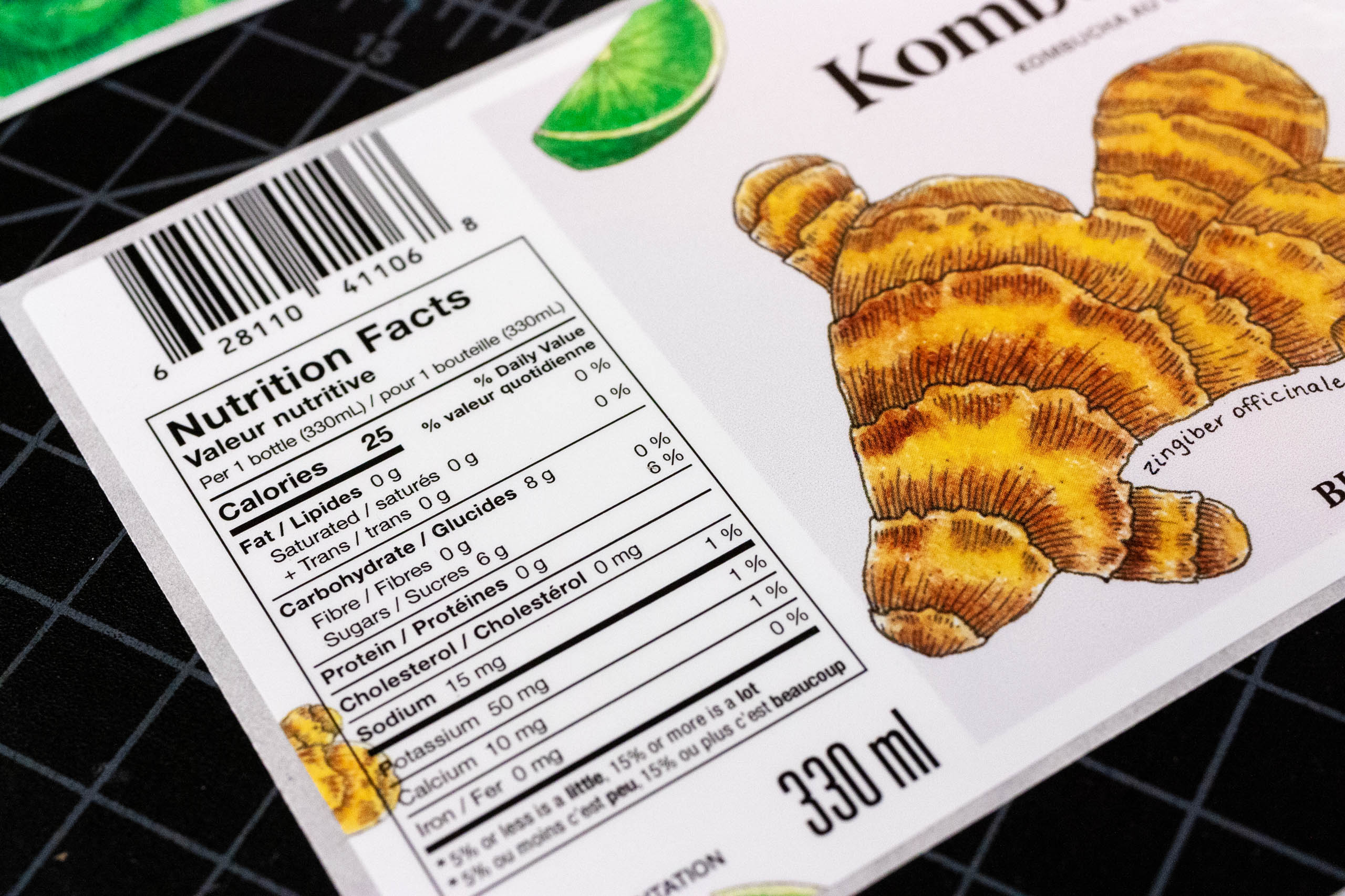 Close up of the Ginger Kombucha Nutritional Label — by Dima Yagnyuk.