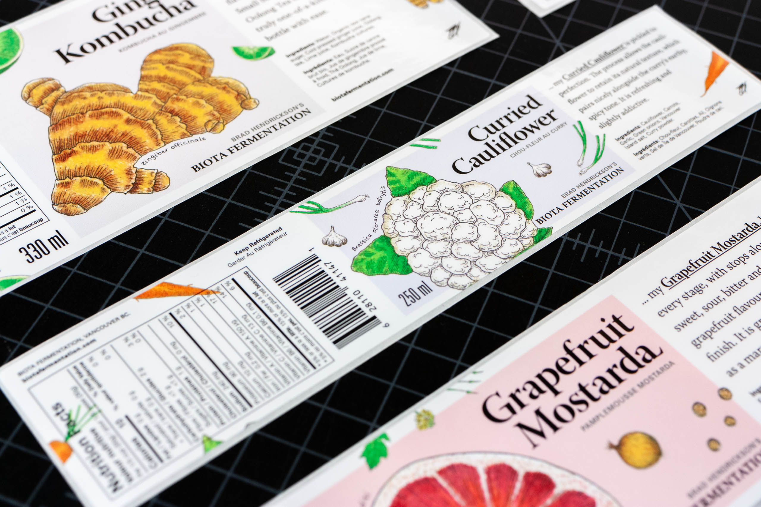 Close up of the Curried Cauliflower label showcasing the informational layout — by Dima Yagnyuk.