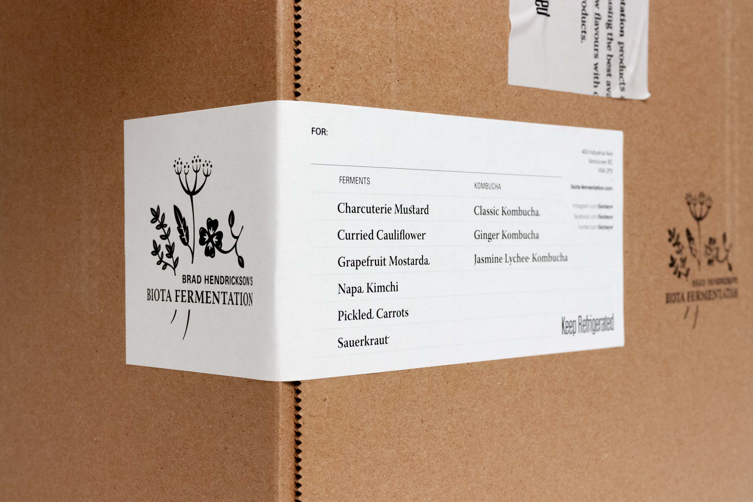 Biota Fermentation Shipping Box Label with logo printed on and space allowance for notes of package contents — by Yagnyuk.