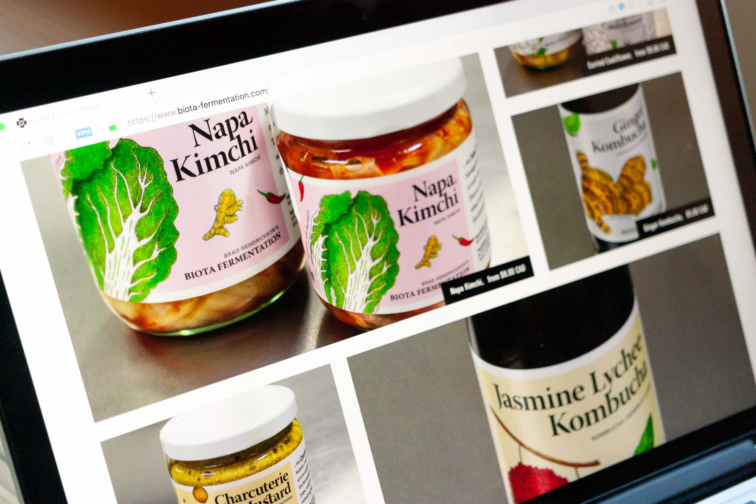 Product selection grid featuring photos of Kimchi Jars and Kombucha bottles — by Dima.