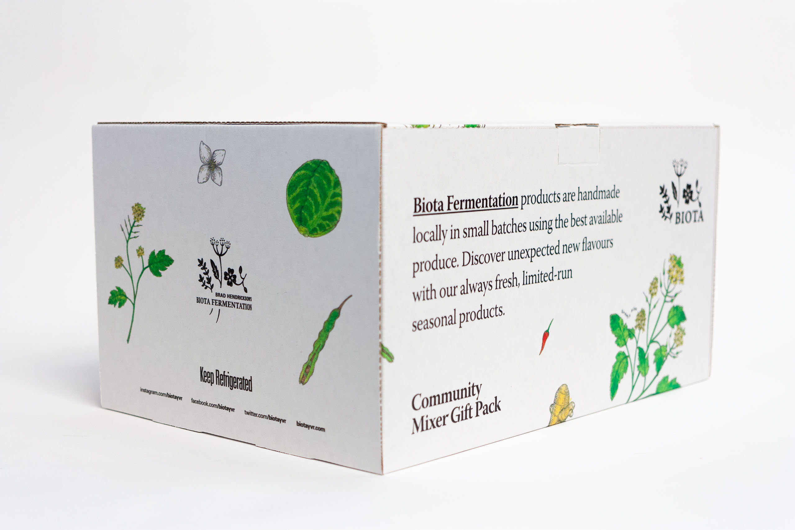 Side angle of Biota Gift box showing brand statement in large set Warnock Pro Display typeface — by Yagnyuk.