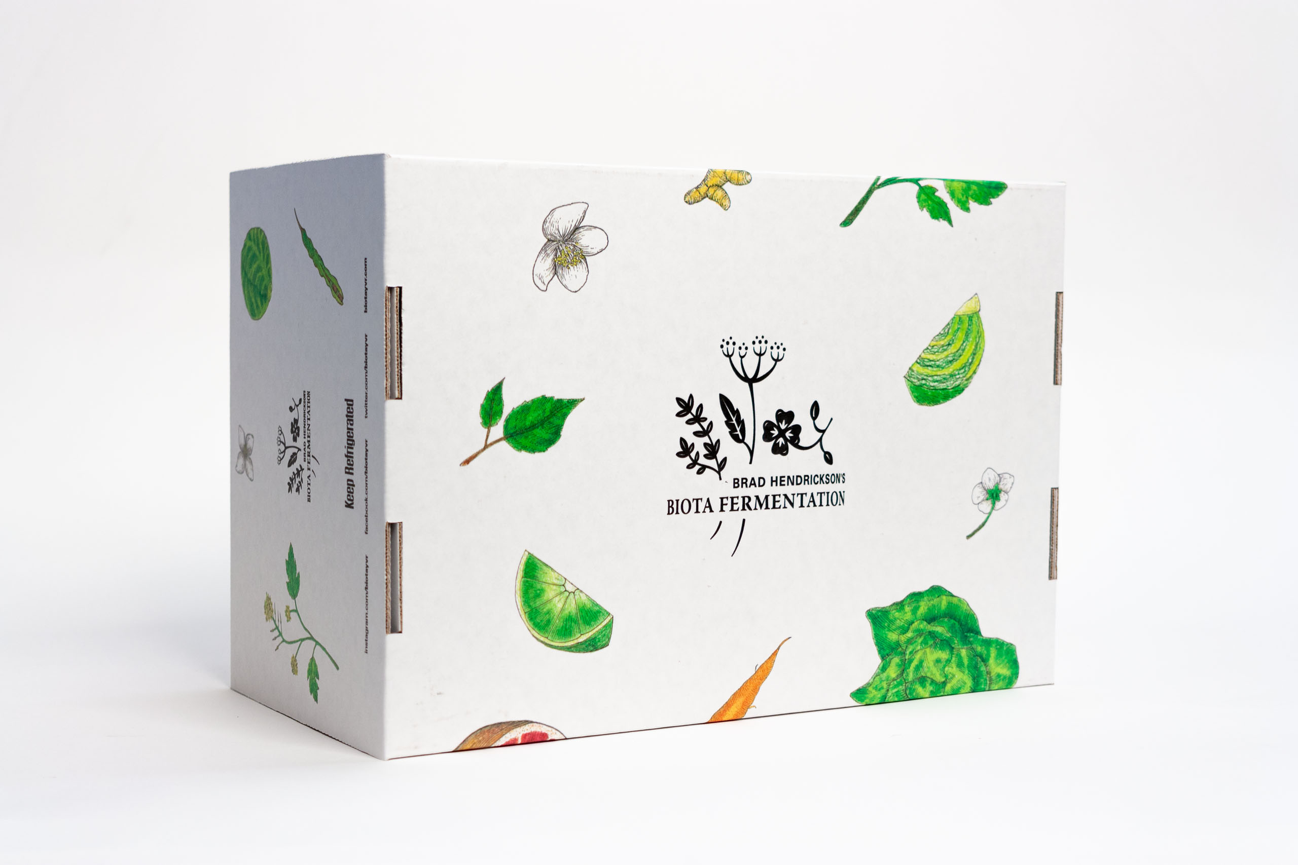The underside of the Biota gift box has a large centered logo surrounded by illustrations — by Yagnyuk.