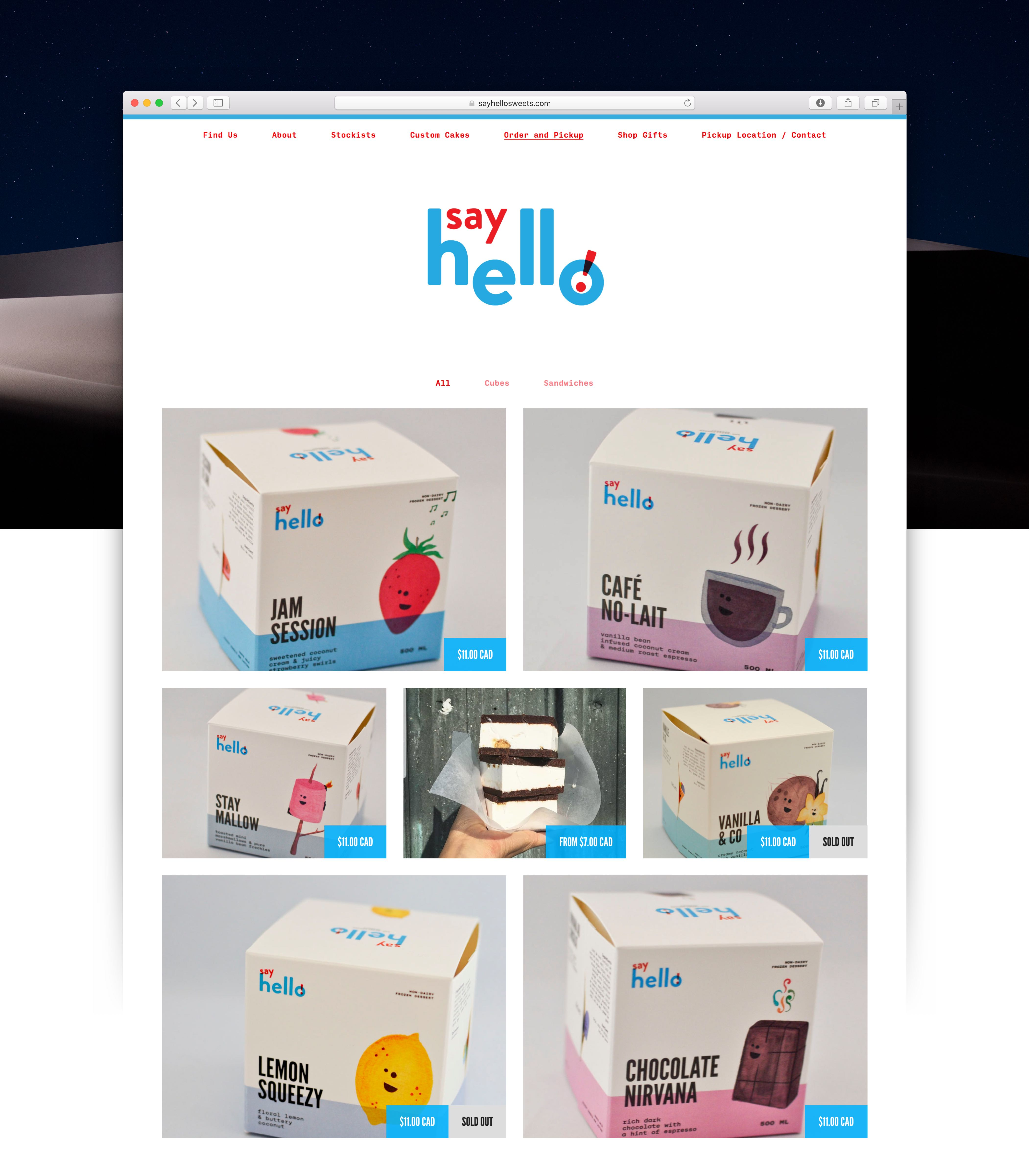 Say Hello Home page showing a grid layout of ice cream cubes for sale — by Yagnyuk.