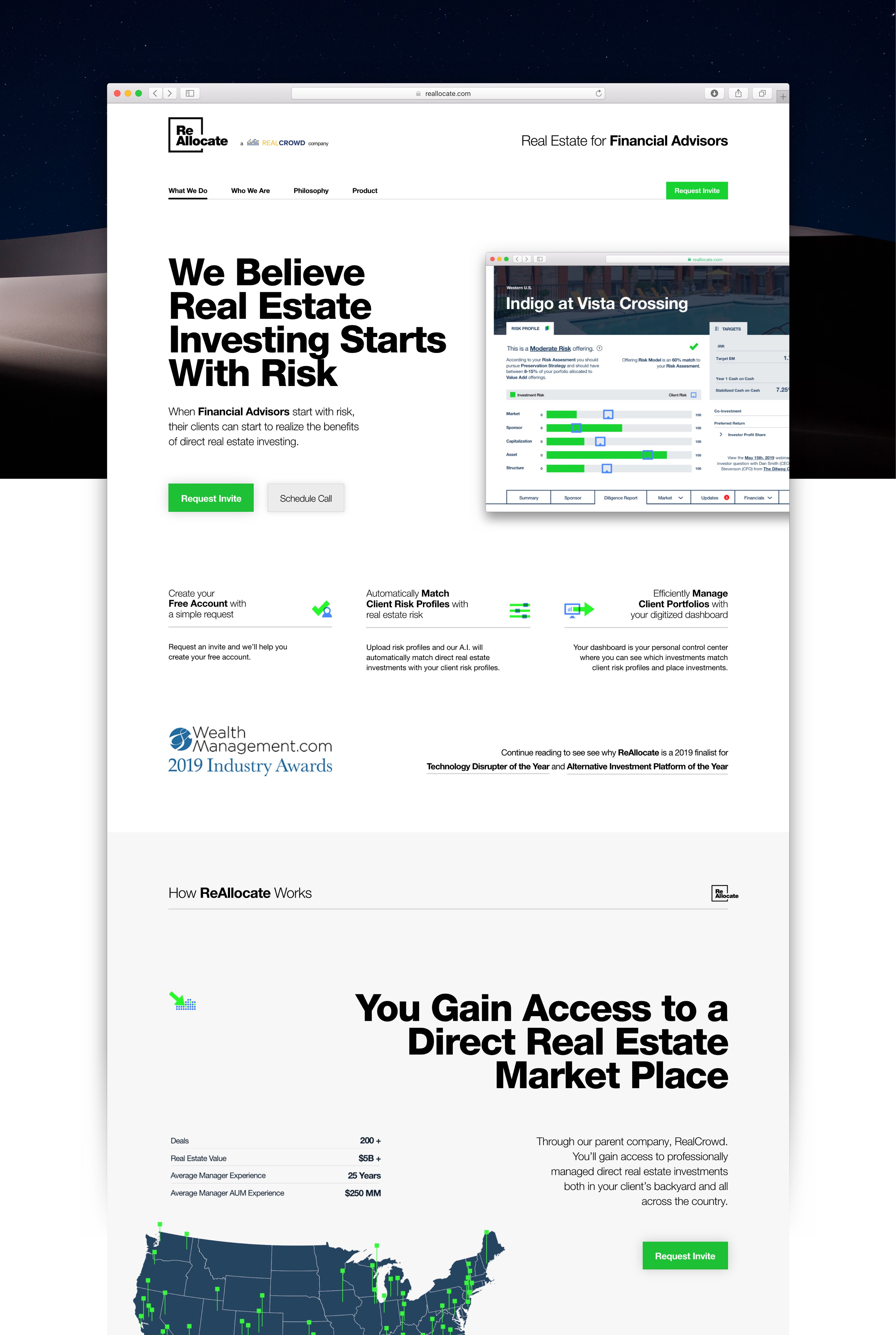 User Interface of the Marketing Page for the ReAllocate Real Estate Advising application — by Dima Yagnyuk.
