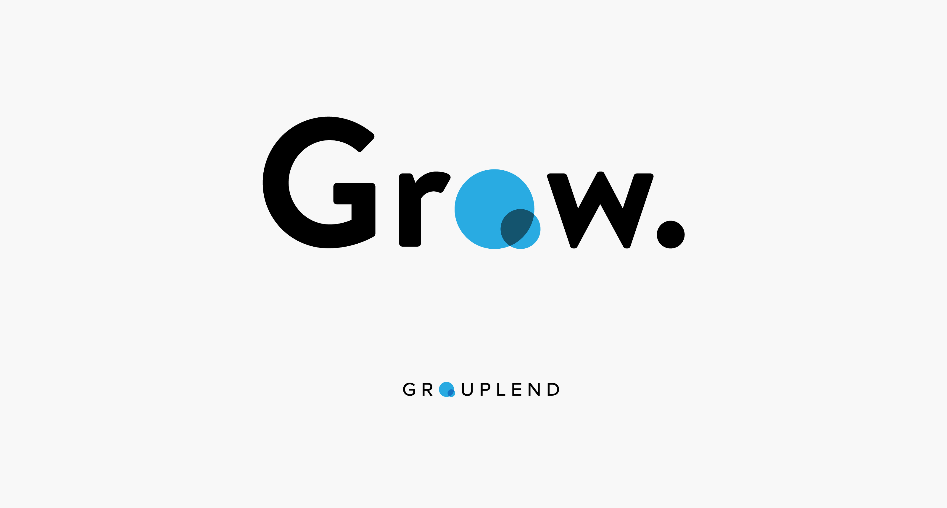 "Grow Technologies new wordmark above Grouplend wordmark, both sharing the same ""venn diagram"" logo in place of their respective ""o"" letters — by Dima Yagnyuk."