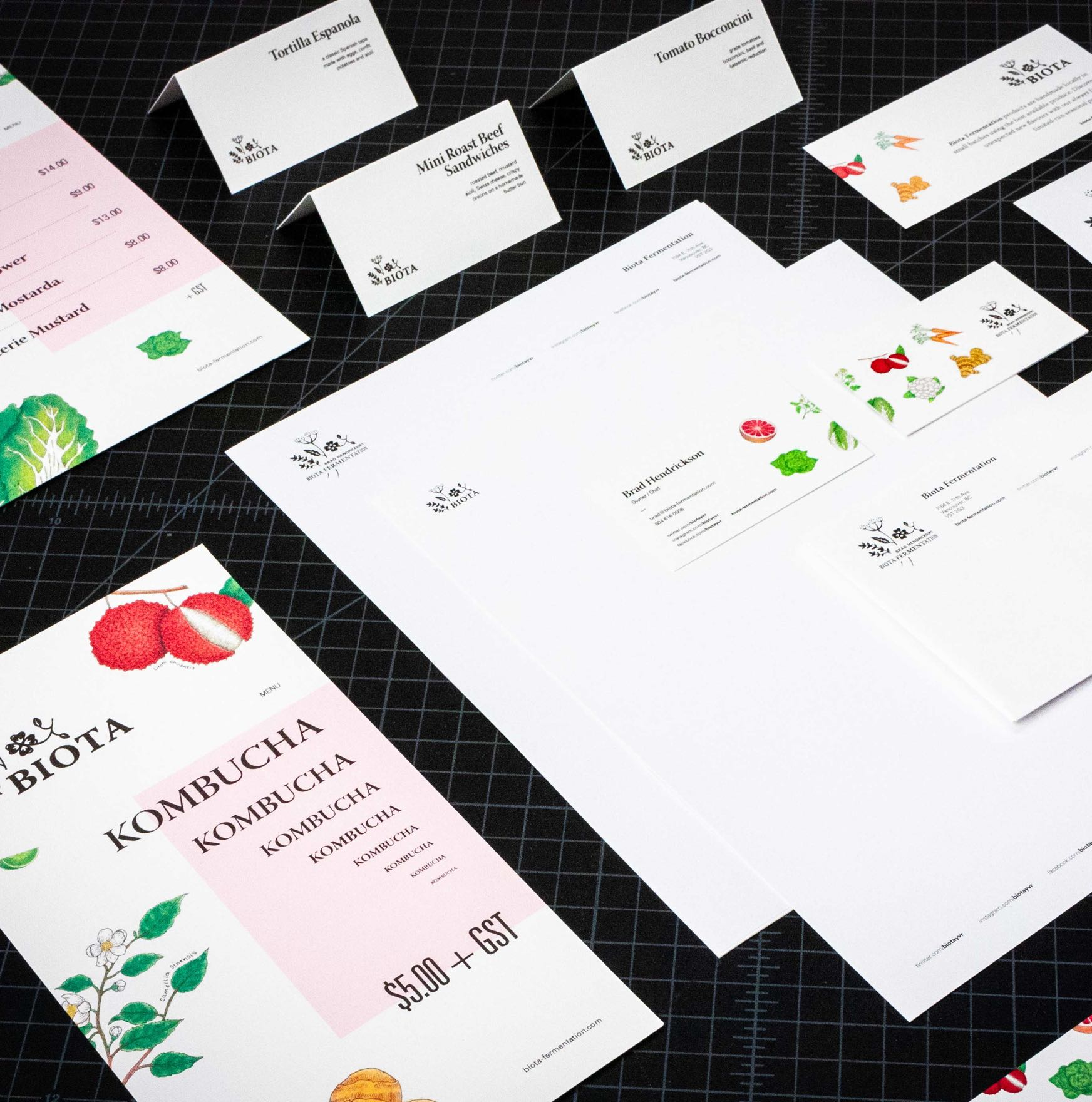 Biota Fermentation stationary, menus,, business card, and product cards featuring vibrant botanical illustrations by Jessica Fraser — by Yagnyuk.