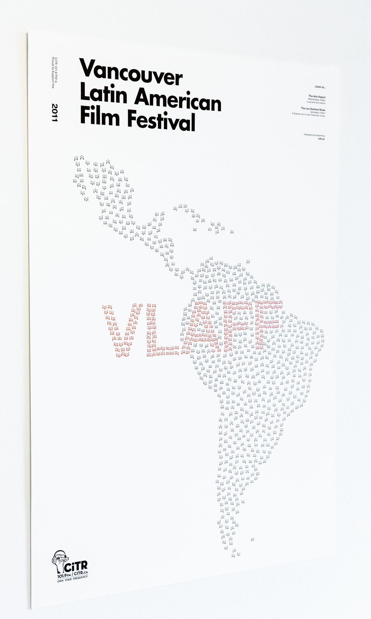 Vancouver Latin American Film Festival advertisement poster for CiTR radio showing a map of Latin America illustrated in exclamation marks — by Yagnyuk.