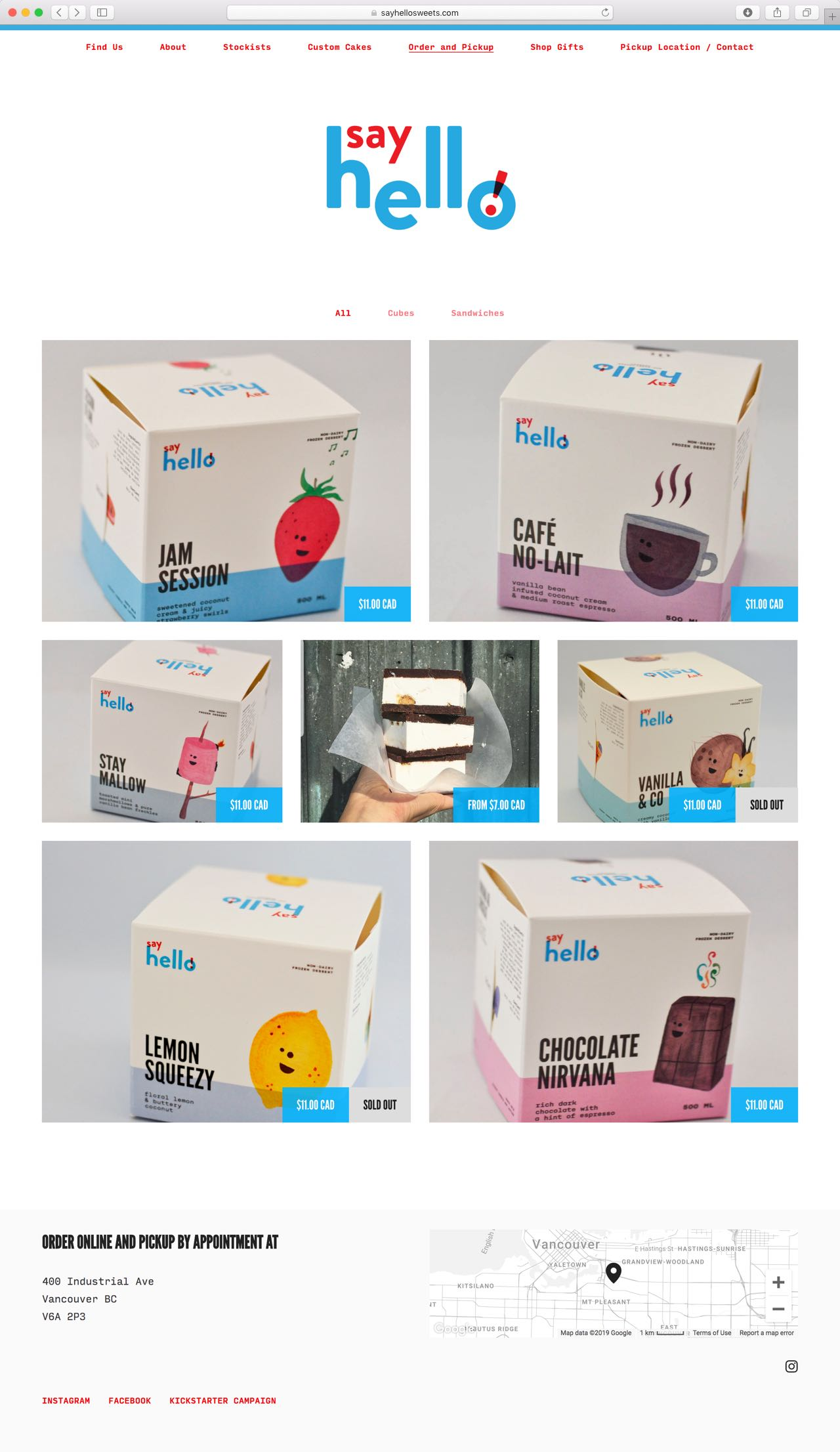 Say Hello E-Commerce Website Layout featuring vibrant ice cream cube illustrations — by Yagnyuk.