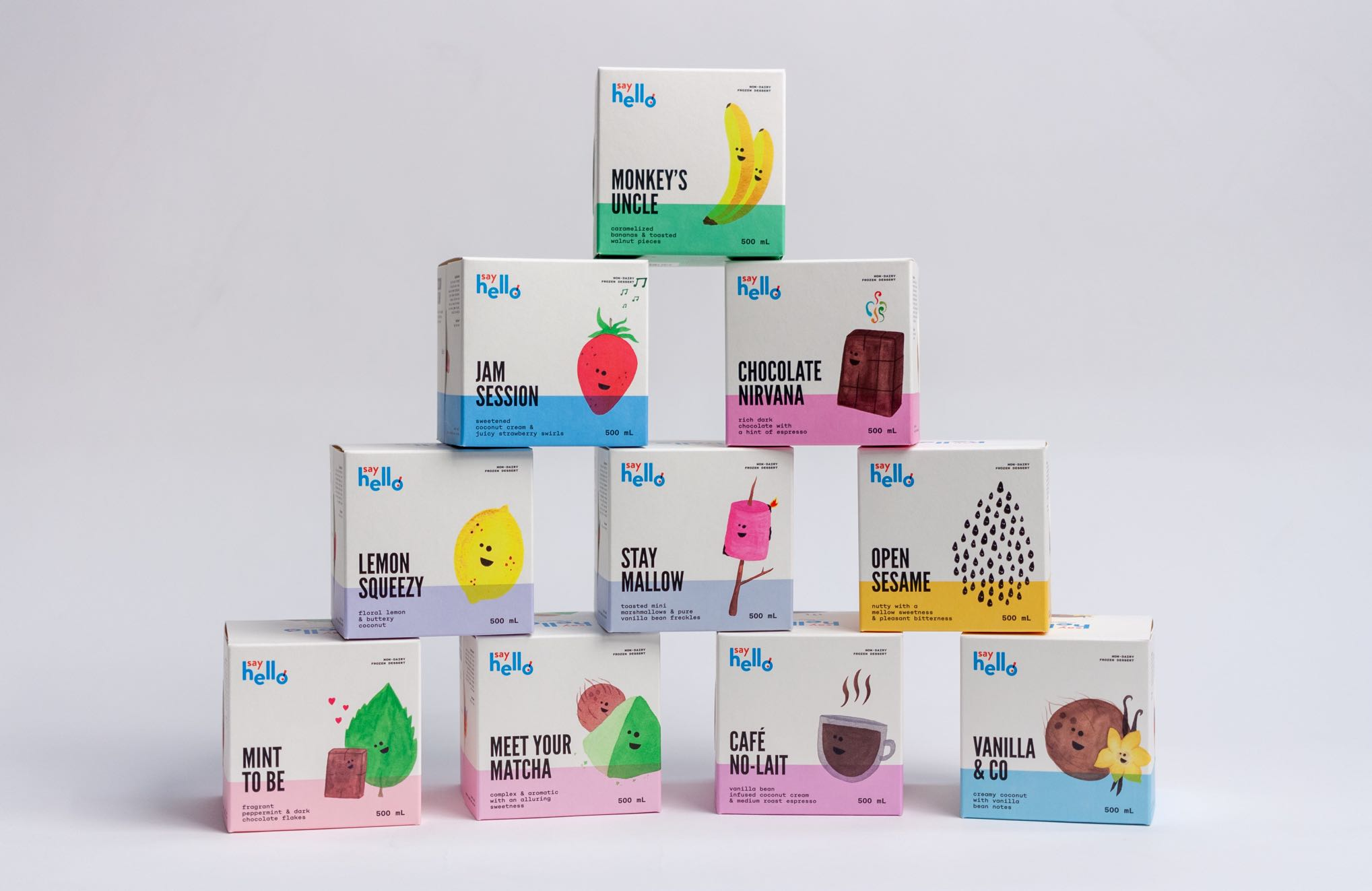 Say Hello Sweets custom Structural Foodsafe, Direct Fill, Ice Cream Cubes with vibrant illustrations for banana, strawberry, chocolate, lemon, marshmallow, sesame, mint, matcha, coffee and vanilla flavours in a variety of neon colors stacked on top of each other — by Dima Yagnyuk.