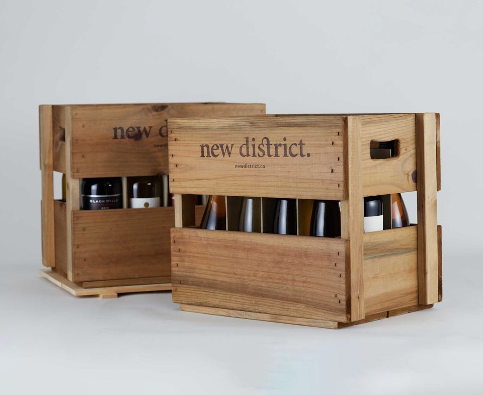 New District Custom wooden wine crates with logo burned in  — by Dima Yagnyuk.
