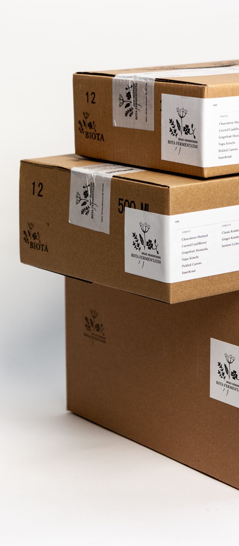 Biota Fermentation Shipping Boxes stacked together with custom printed tape, labels and branding — by Dima Yagnyuk.