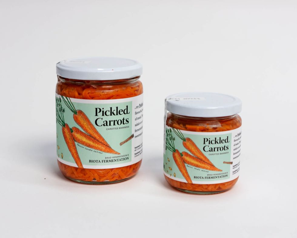 Biota Fermentation Pickled Carrots Jars in 500ml and 250ml with vibrant orange carrot illustration — by Dima.